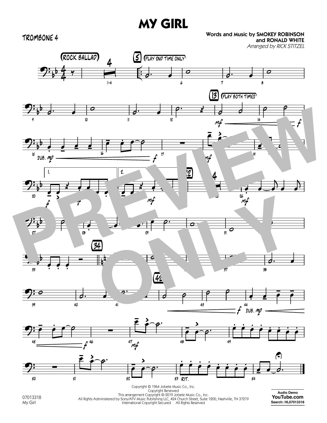 My Girl (arr. Rick Stitzel) - Trombone 4 (Jazz Ensemble)