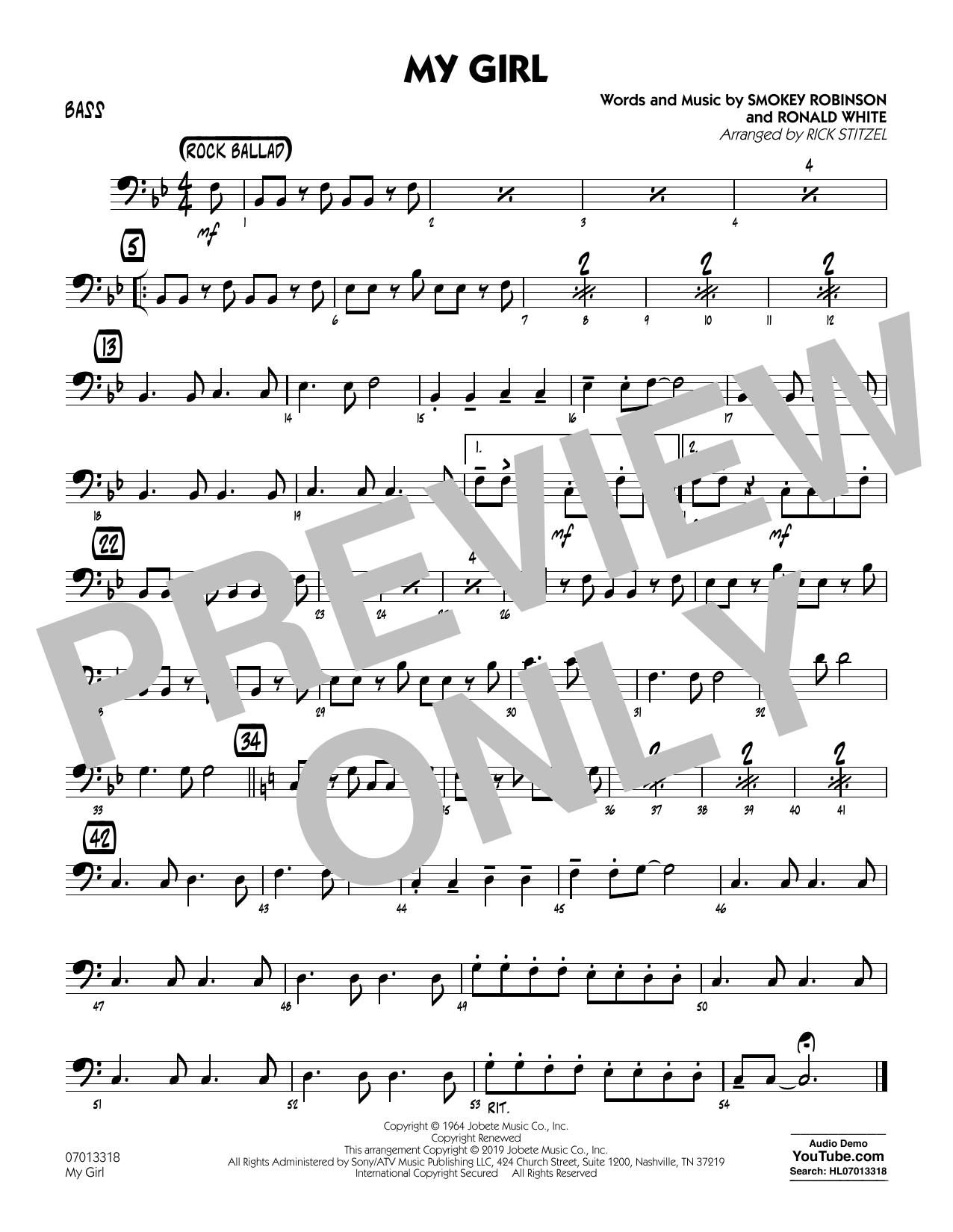 My Girl (arr. Rick Stitzel) - Bass (Jazz Ensemble)