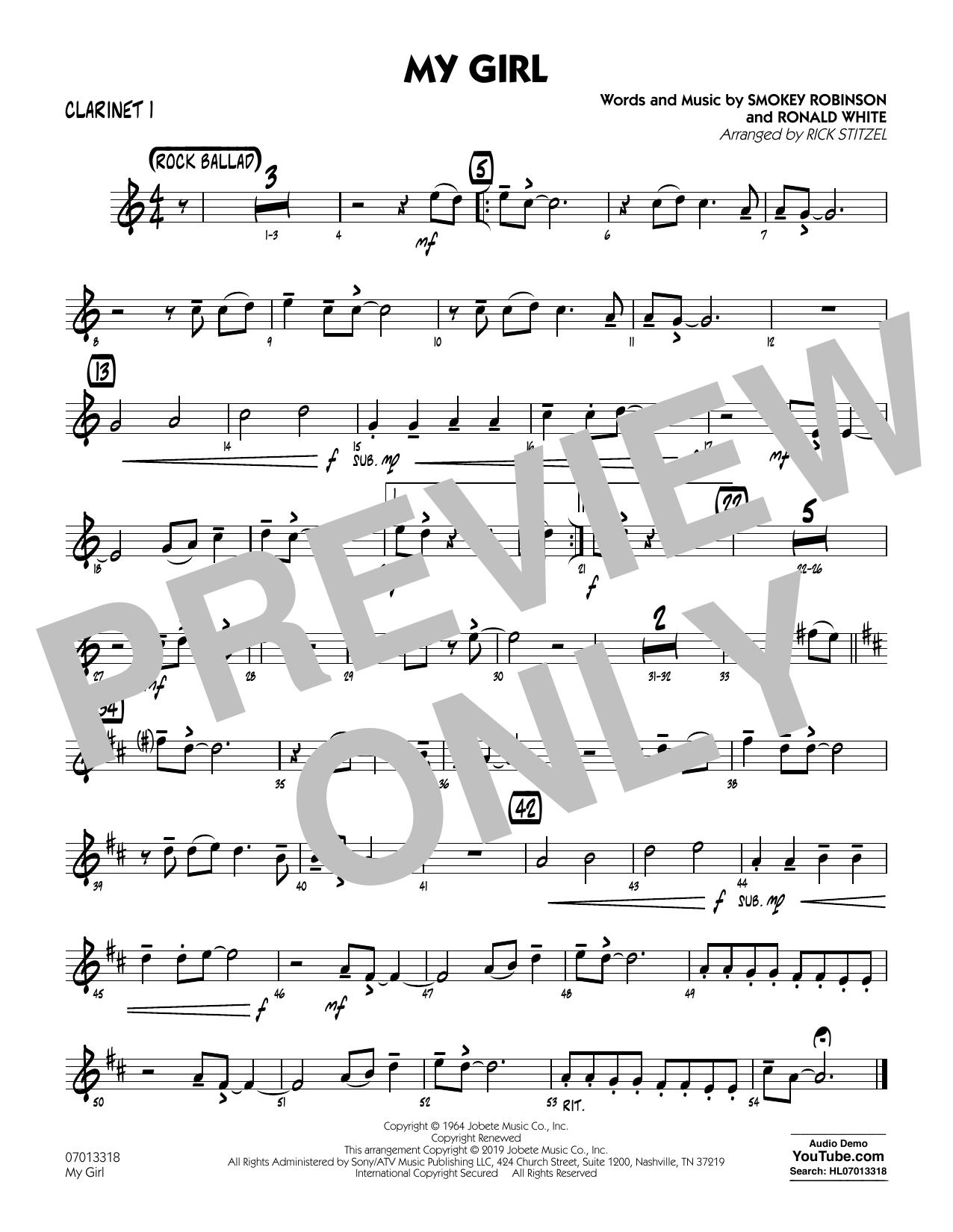 My Girl (arr. Rick Stitzel) - Bb Clarinet 1 (Jazz Ensemble)