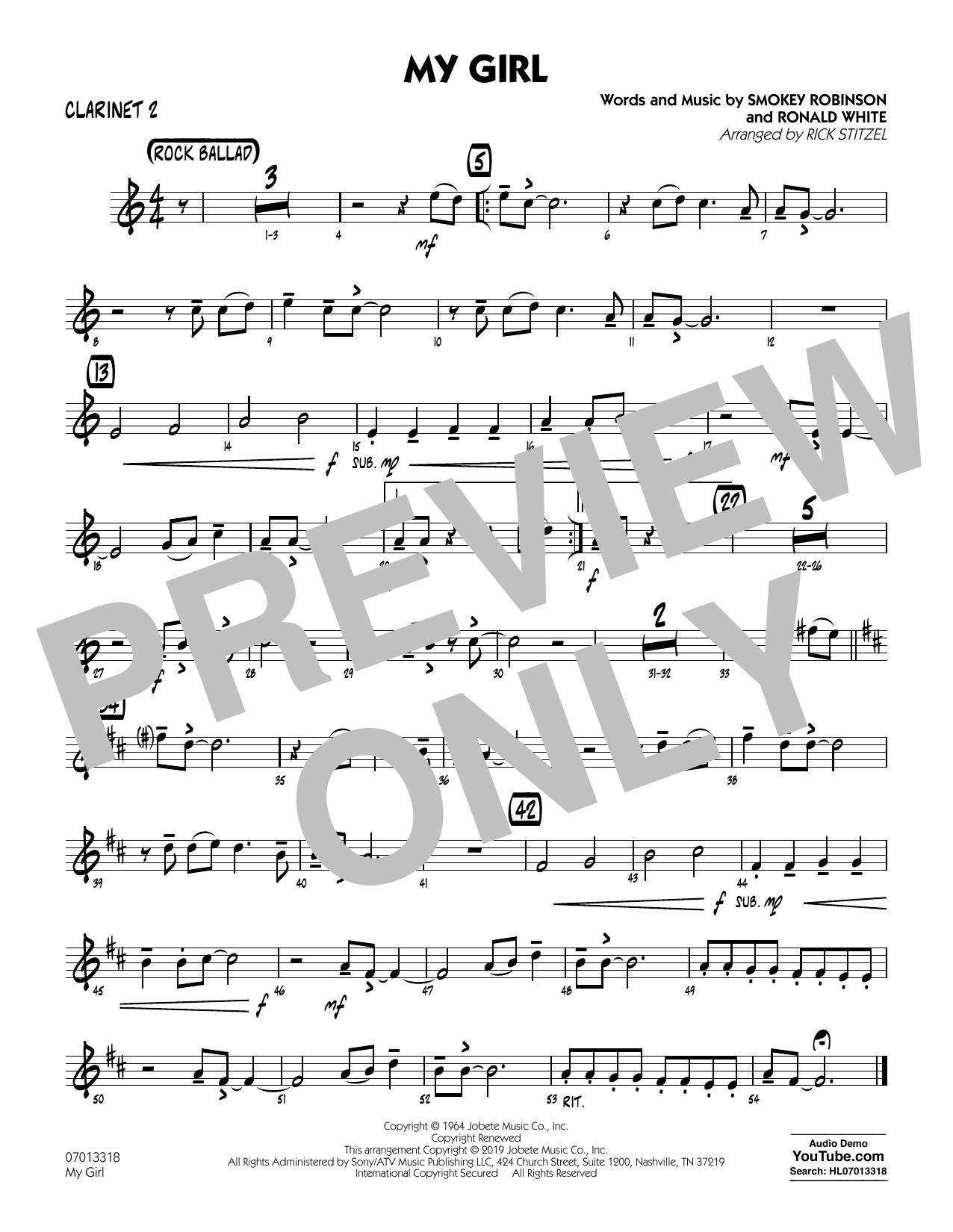 My Girl (arr. Rick Stitzel) - Bb Clarinet 2 (Jazz Ensemble)