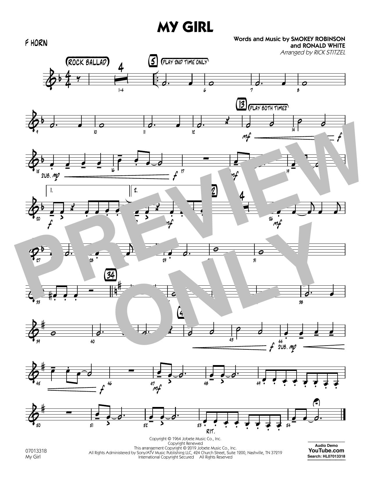My Girl (arr. Rick Stitzel) - F Horn (Jazz Ensemble)