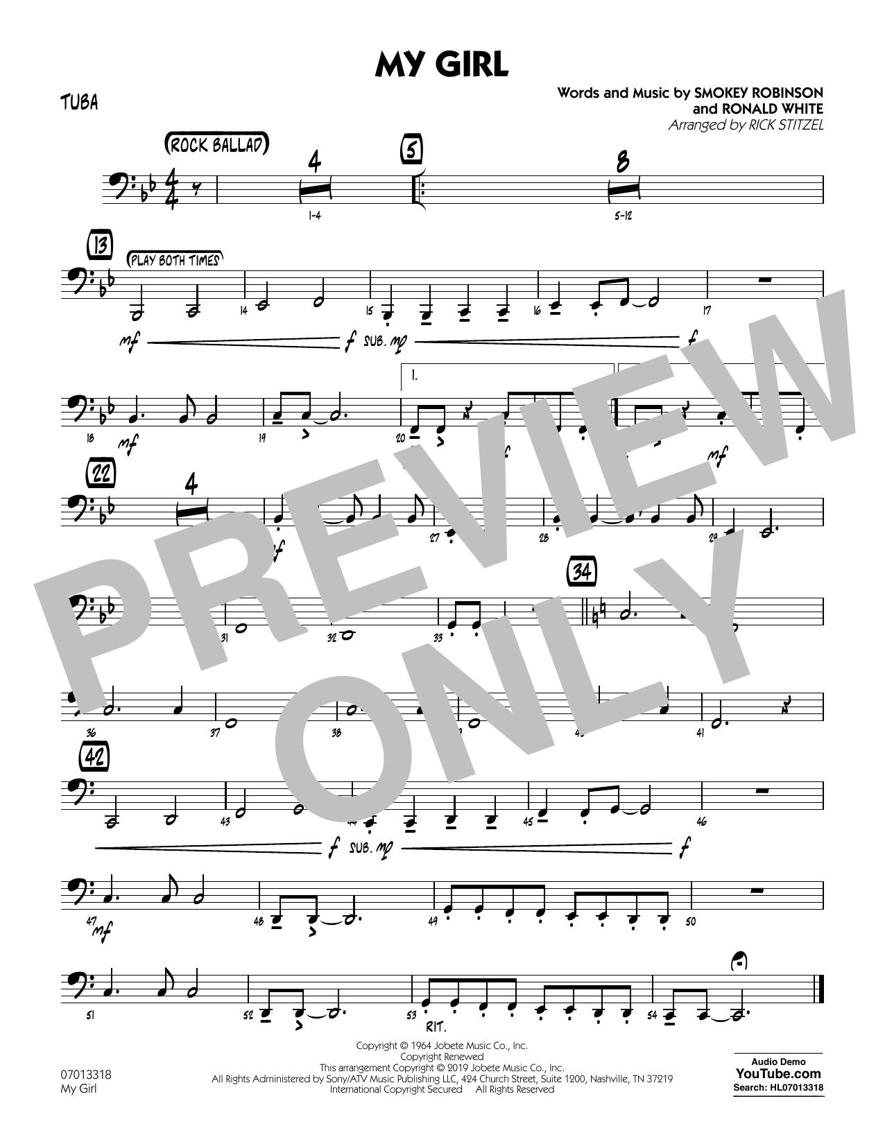 My Girl (arr. Rick Stitzel) - Tuba (Jazz Ensemble)