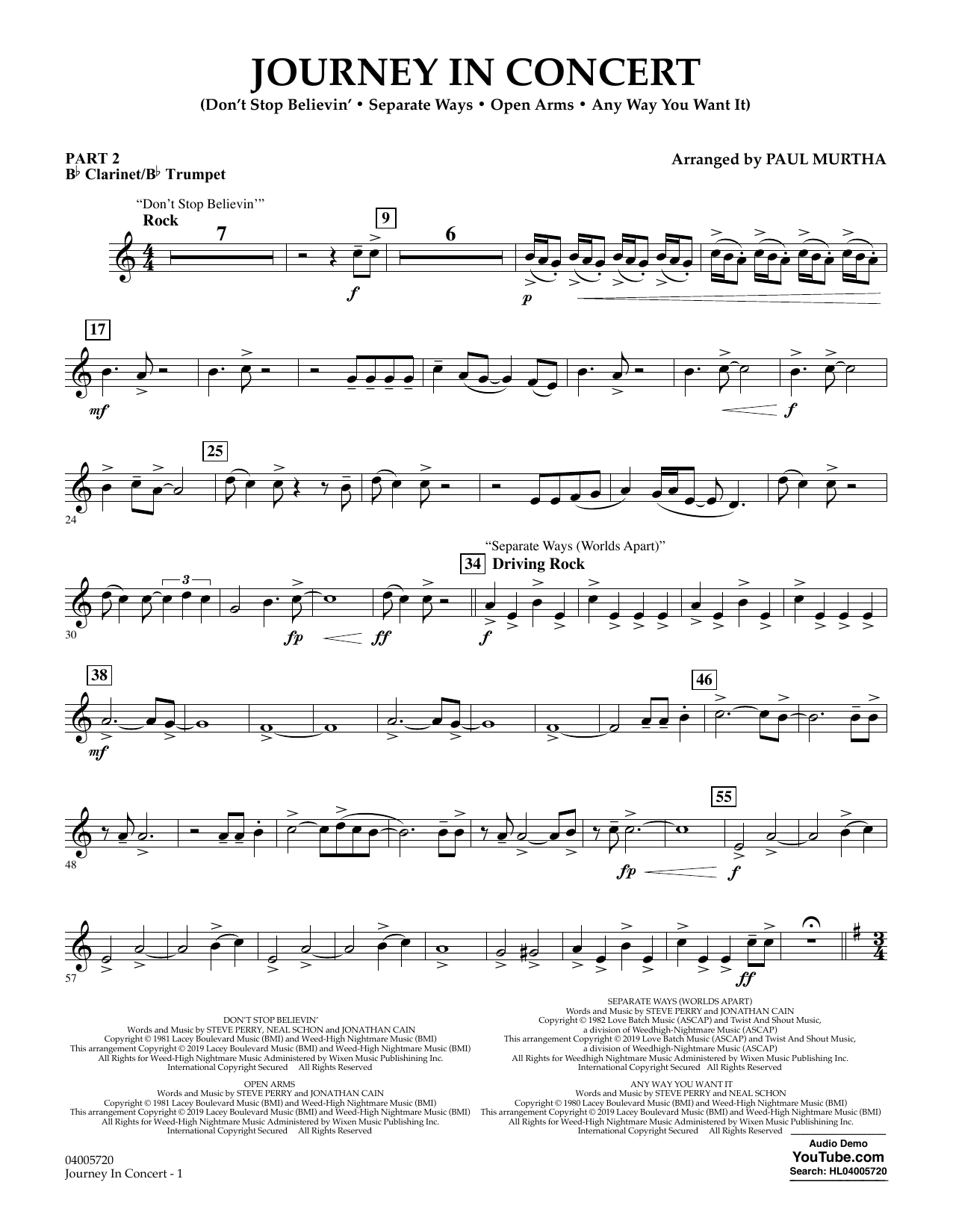 Journey in Concert (arr. Paul Murtha) - Pt.2 - Bb Clarinet/Bb Trumpet (Concert Band: Flex-Band)