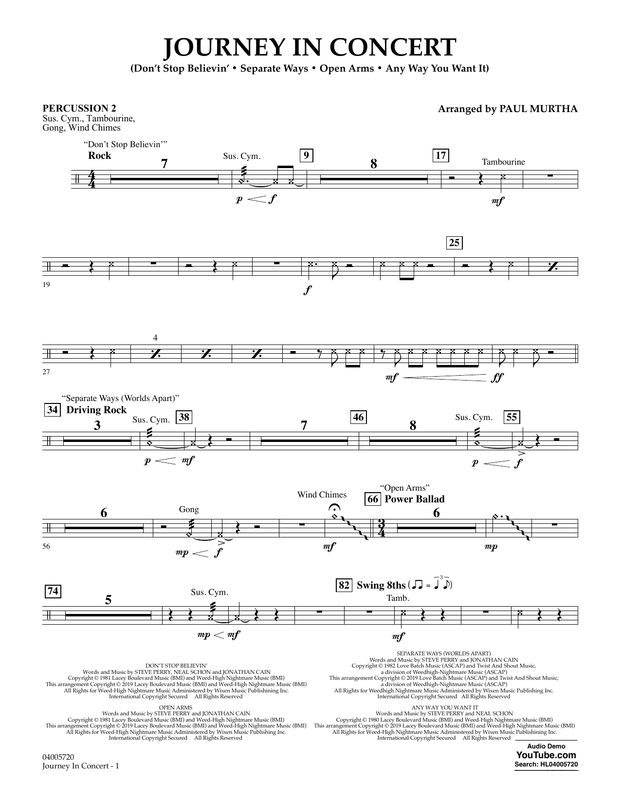 Journey in Concert (arr. Paul Murtha) - Percussion 2 (Concert Band: Flex-Band)