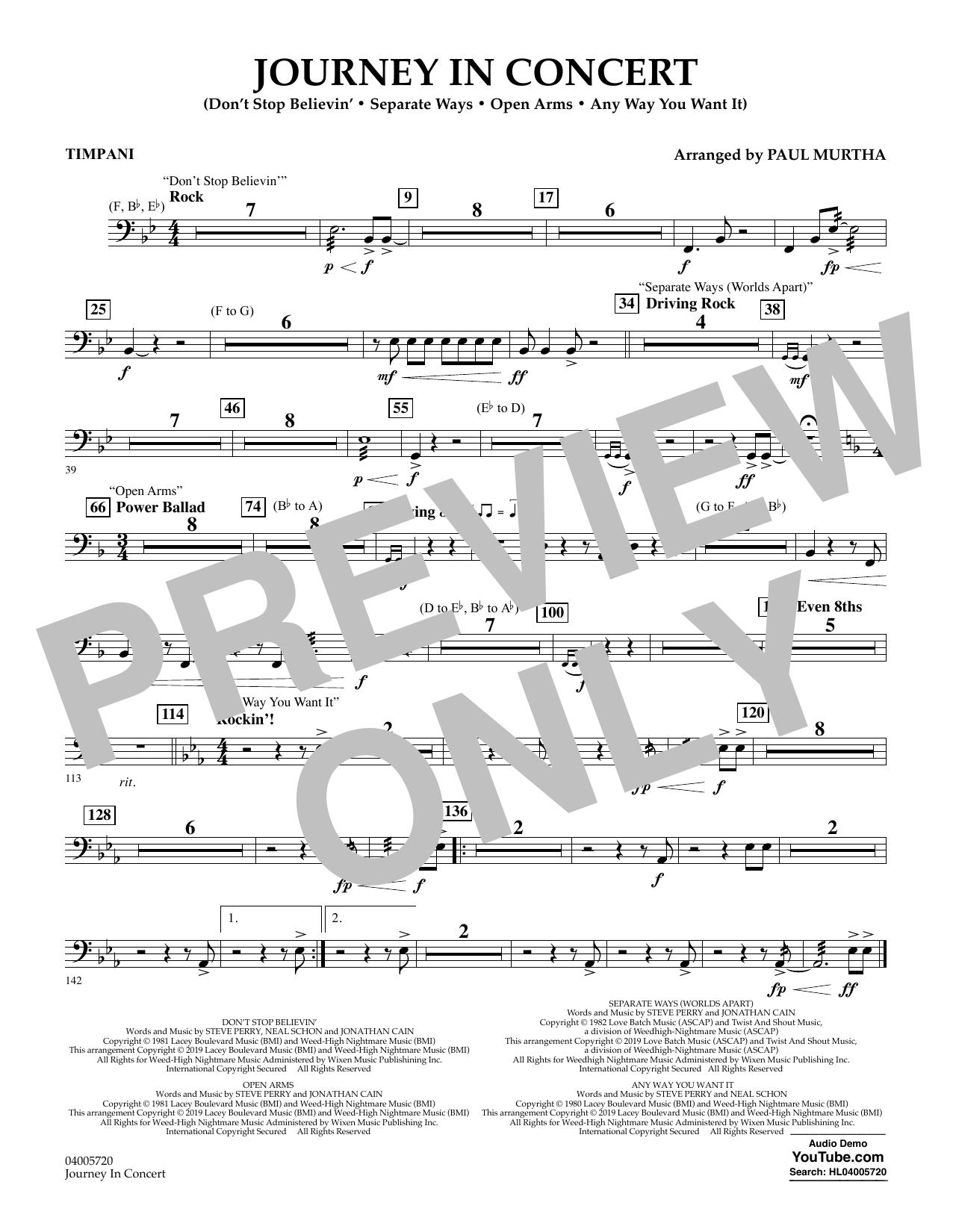 Journey in Concert (arr. Paul Murtha) - Timpani (Flex-Band)