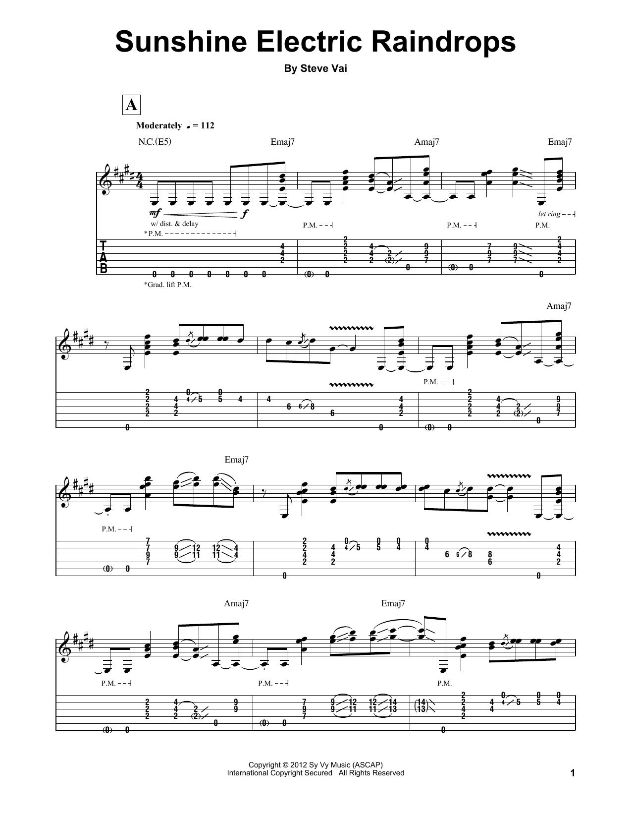 Sunshine Electric Raindrops (Guitar Tab (Single Guitar))