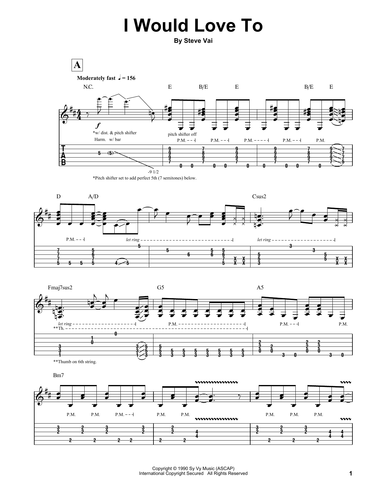 I Would Love To (Guitar Tab (Single Guitar))
