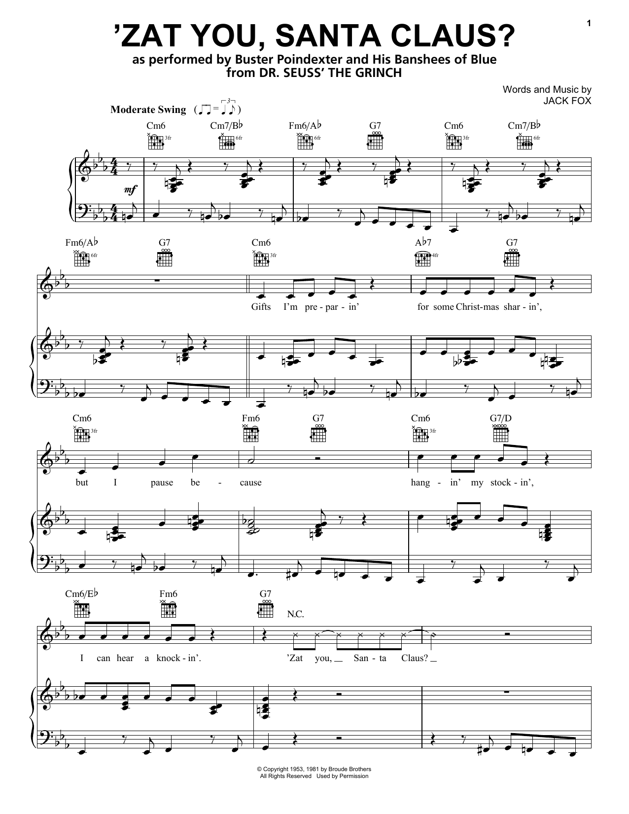 'Zat You, Santa Claus? (from The Grinch) (Piano, Vocal & Guitar (Right-Hand Melody))