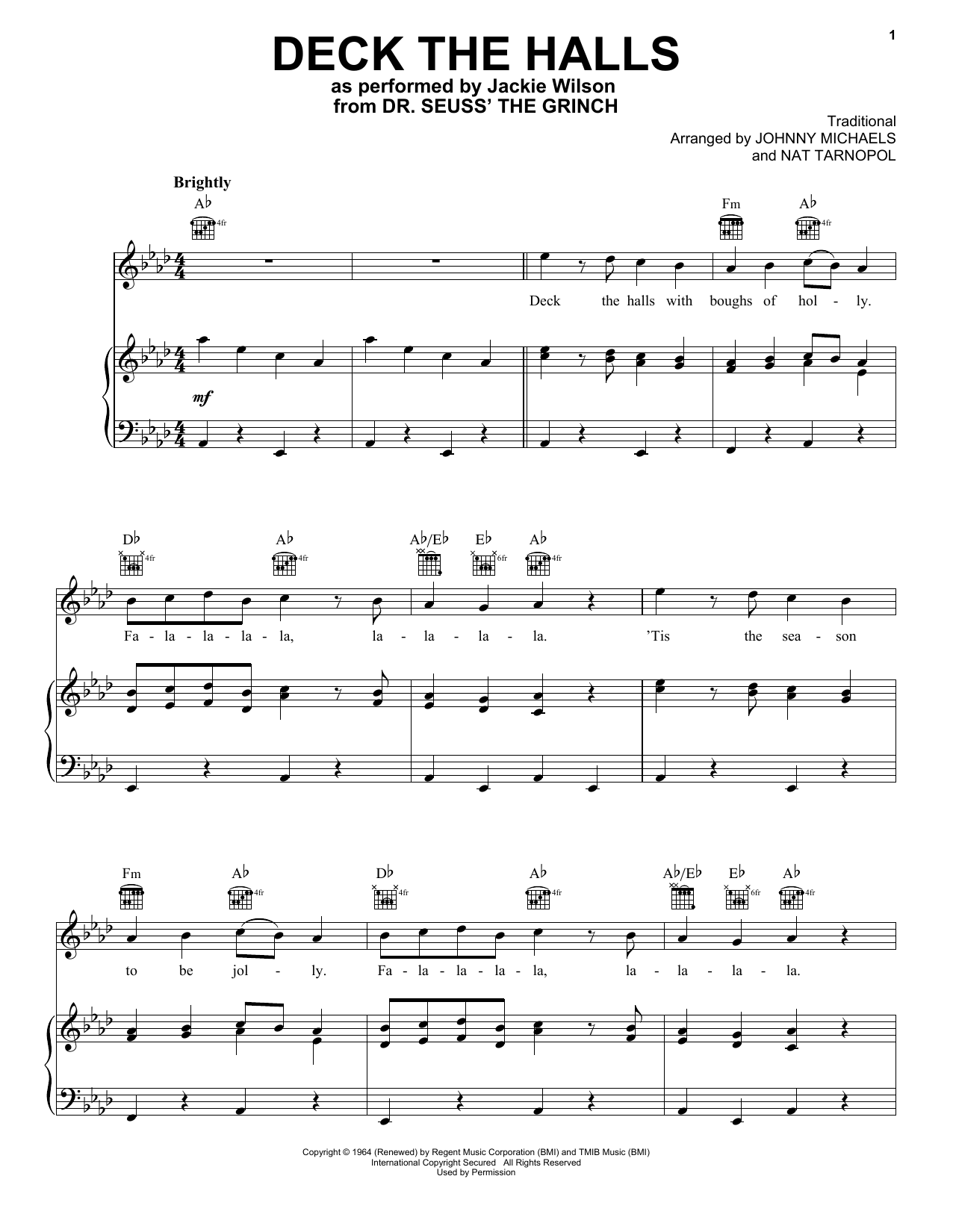 Deck The Hall (from The Grinch) (Piano, Vocal & Guitar (Right-Hand Melody))
