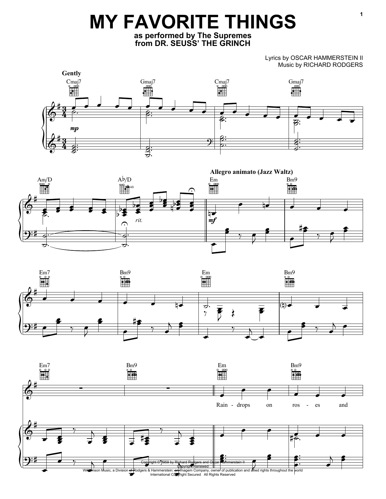 My Favorite Things (from The Grinch) (Piano, Vocal & Guitar (Right-Hand Melody))