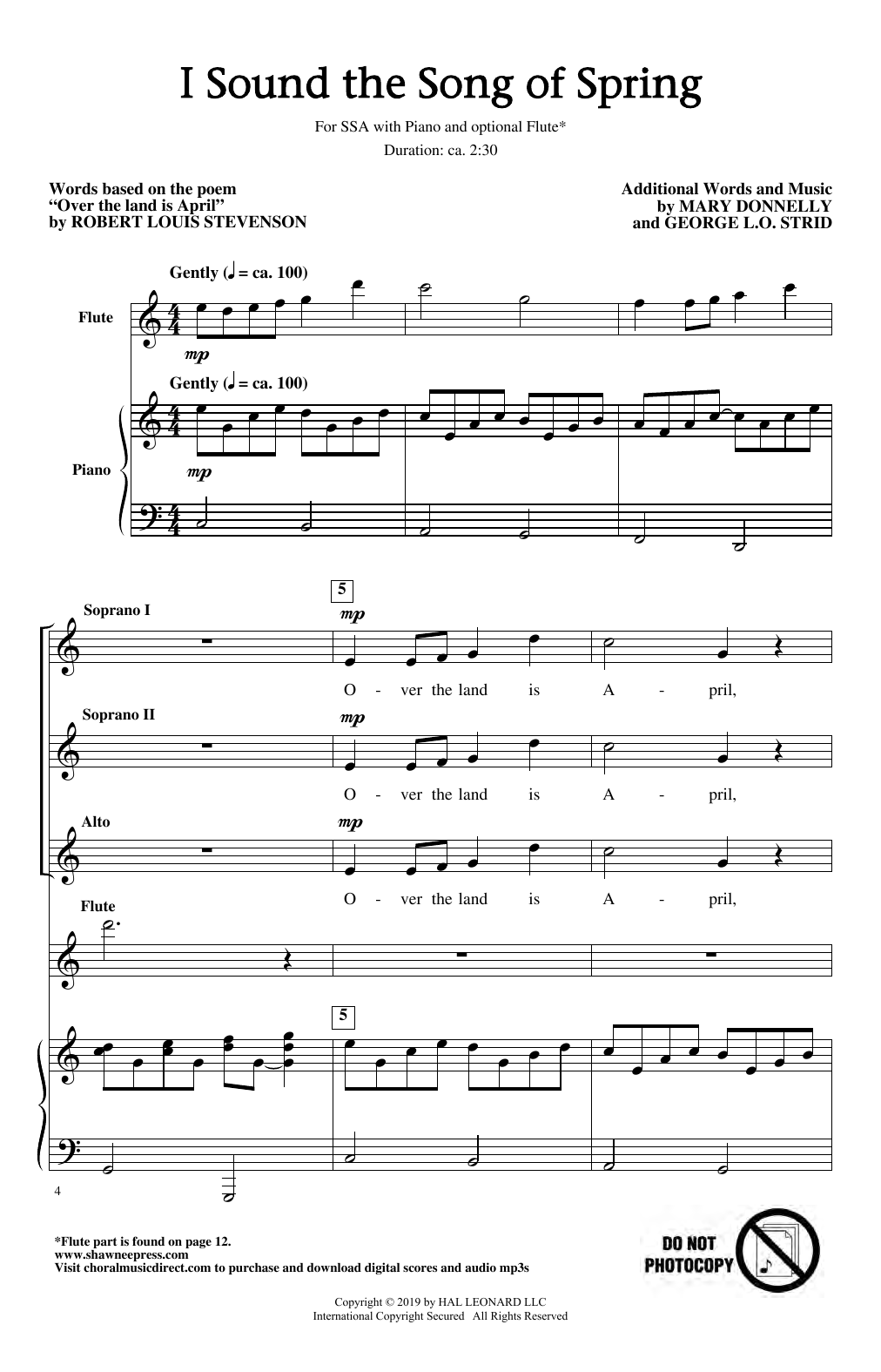 I Sound The Song Of Spring (SSA Choir)