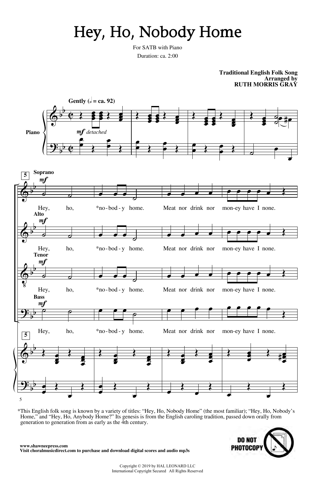 Hey Ho, Nobody Home (arr. Ruth Morris Gray) (SATB Choir)