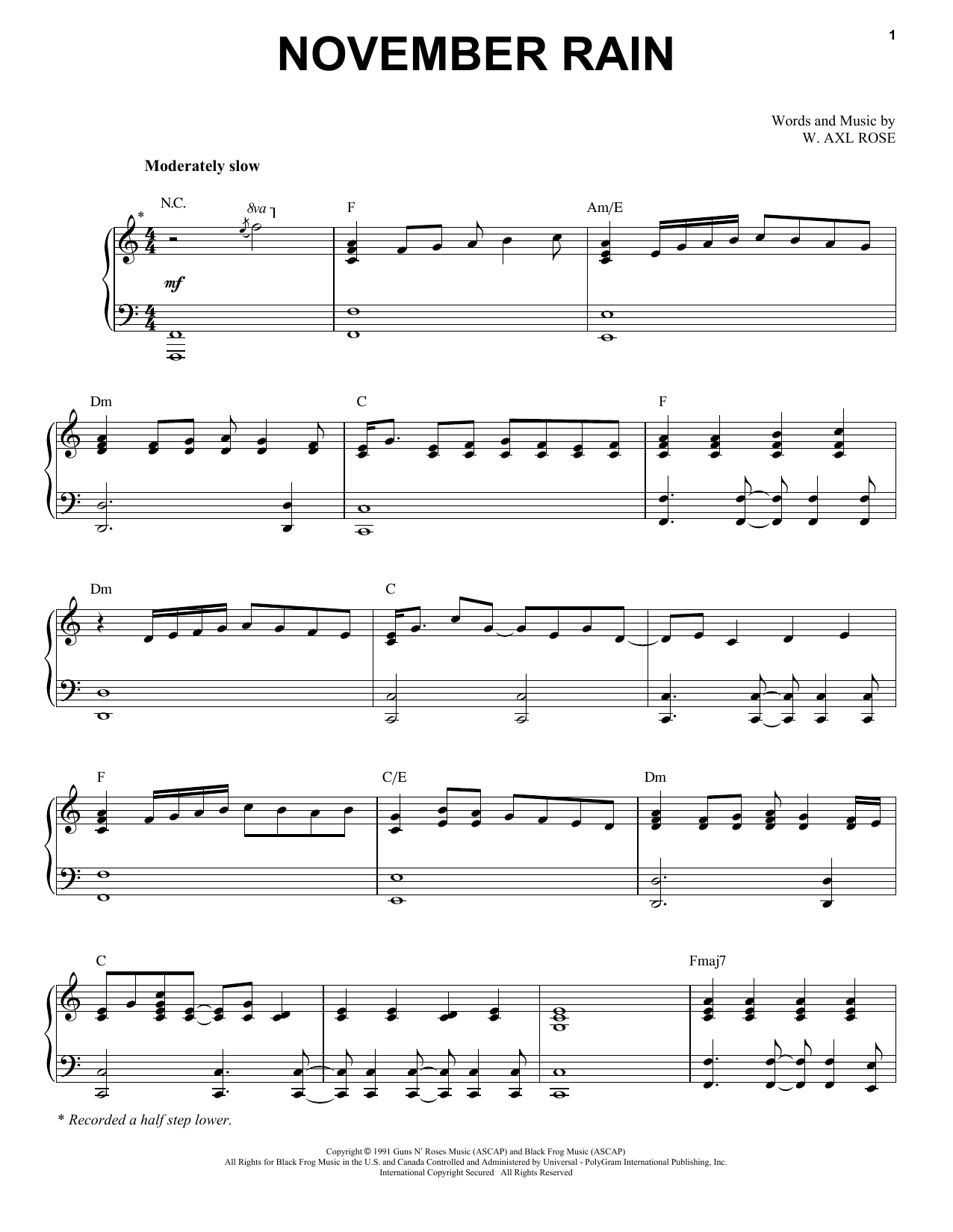 November Rain (Piano & Vocal)