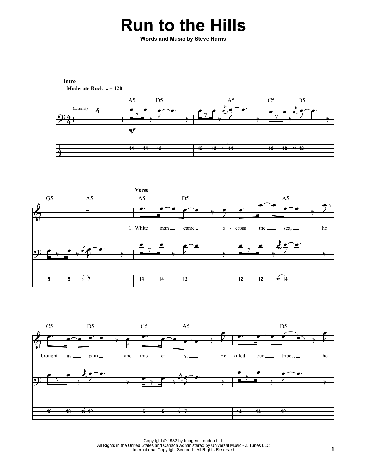 Run To The Hills (Bass Guitar Tab)