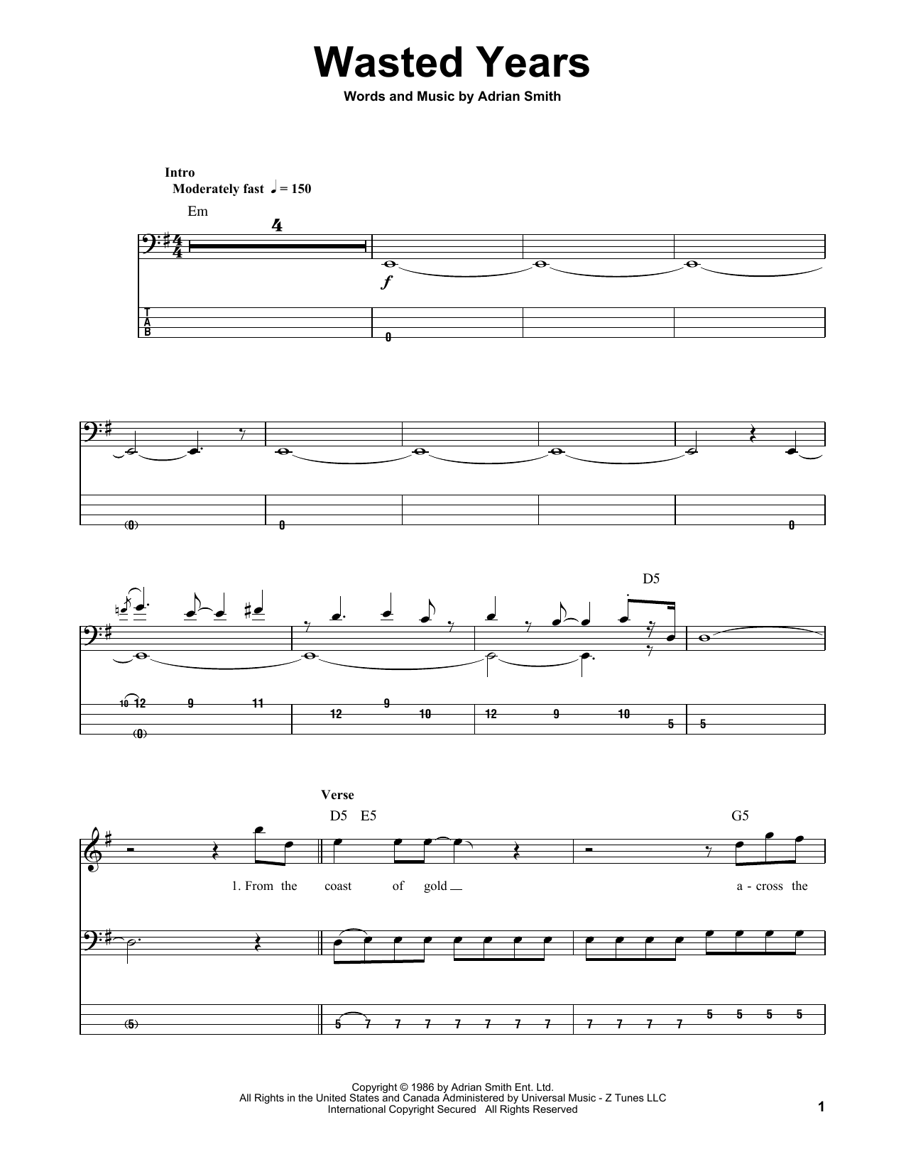 Wasted Years (Bass Guitar Tab)