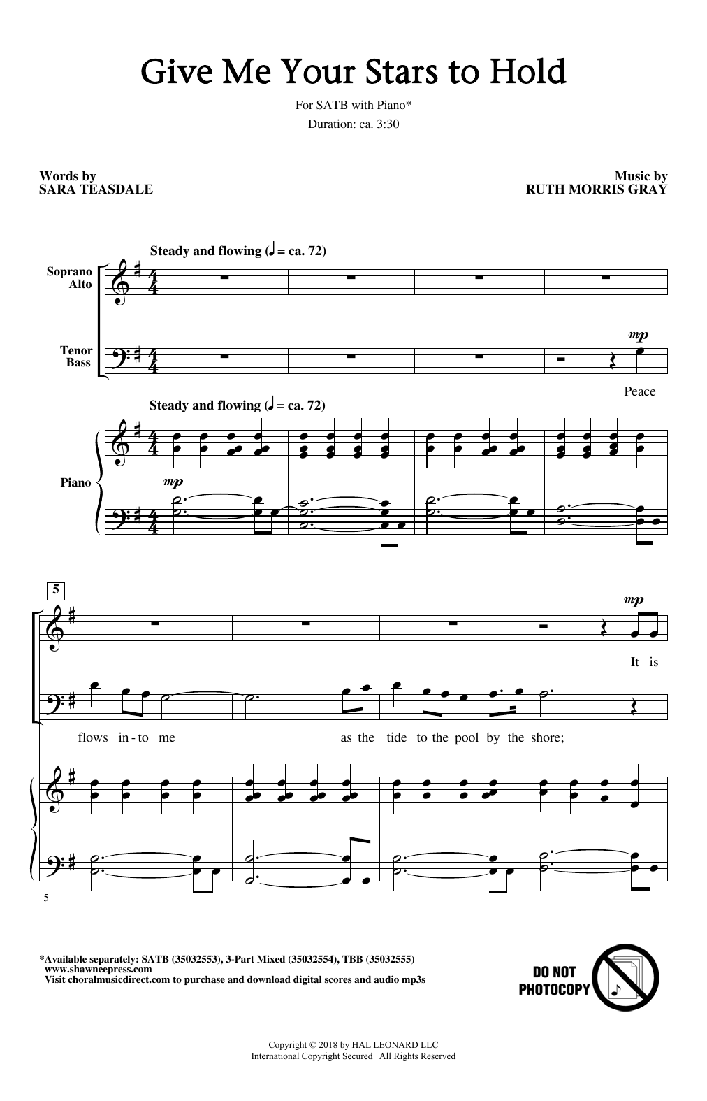 Give Me Your Stars To Hold (SATB Choir)