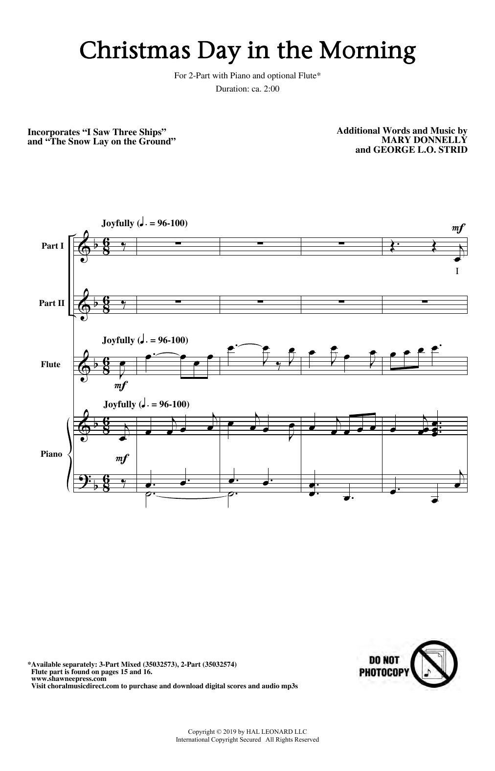 Christmas Day In The Morning 2 Part Choir Print Sheet Music Now