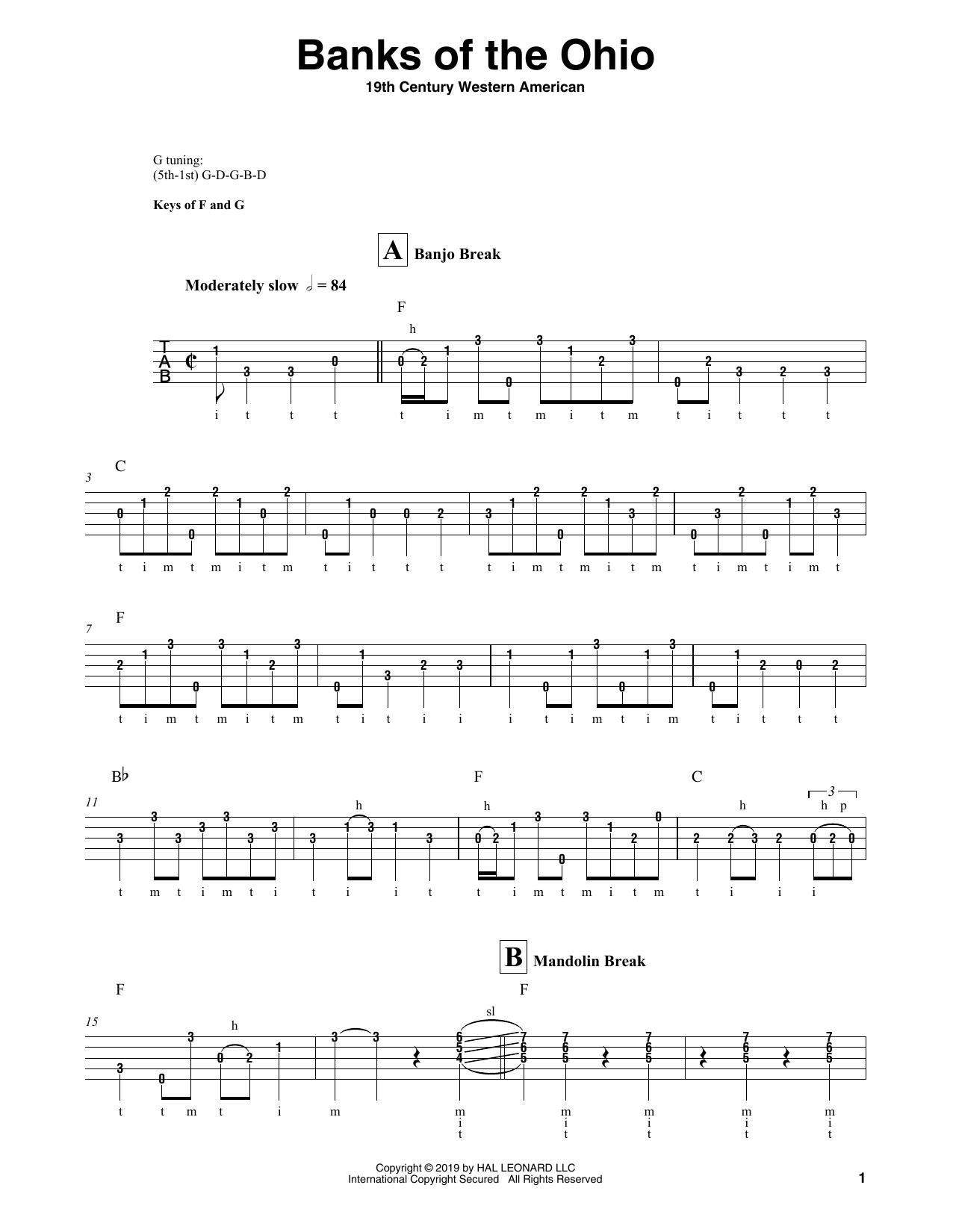 Banks Of The Ohio (Banjo Tab)