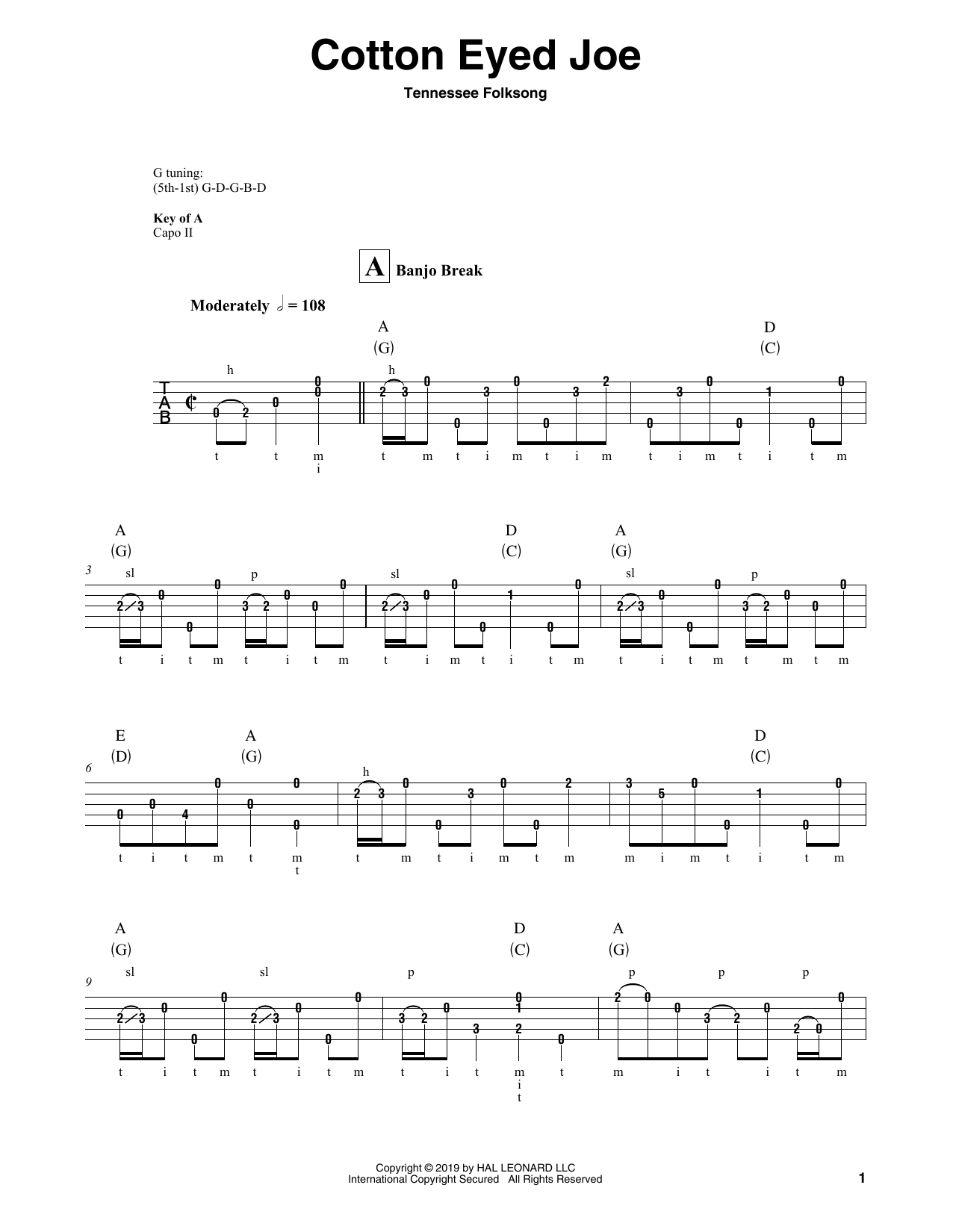 Cotton Eyed Joe (Banjo Tab)