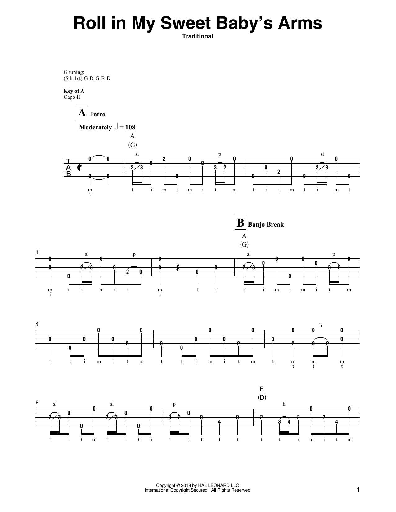 Roll In My Sweet Baby's Arms (Banjo Tab)