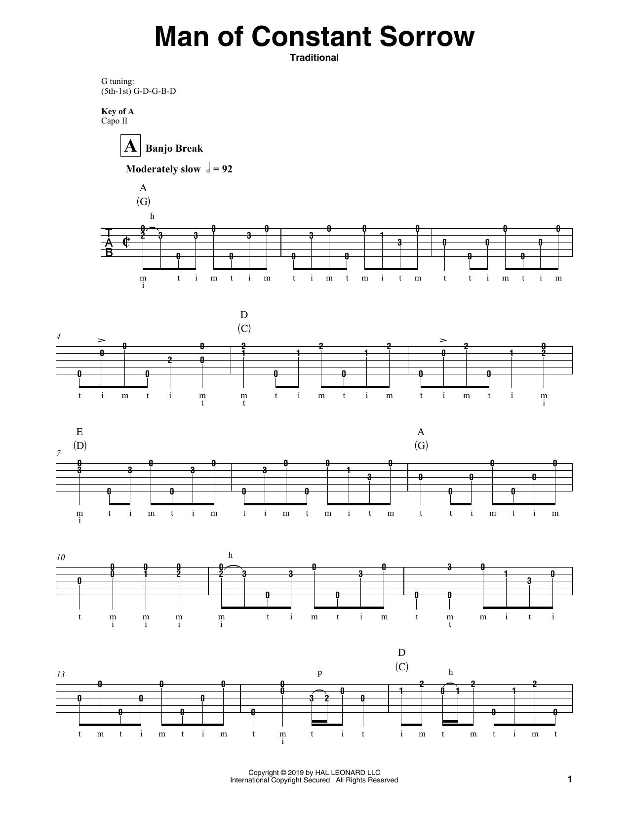 Man Of Constant Sorrow (Banjo Tab)