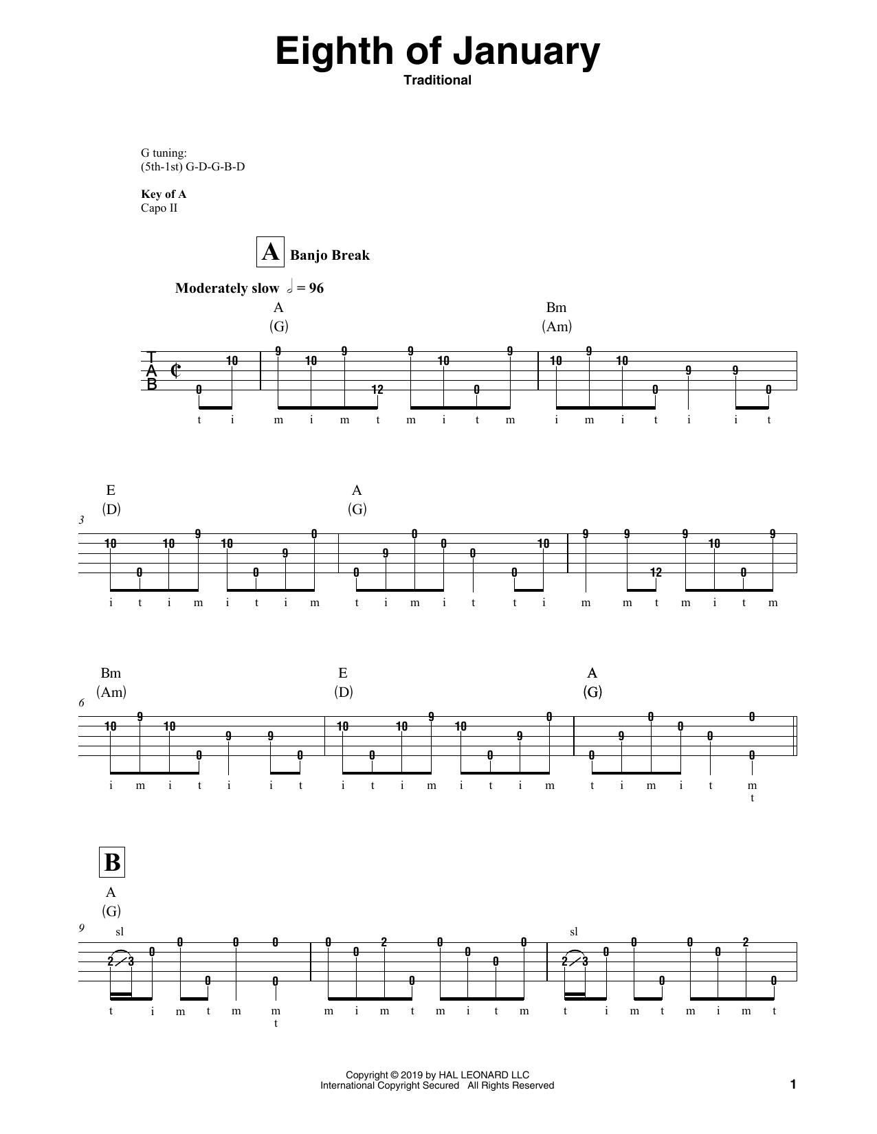 Eighth Of January (Banjo Tab)