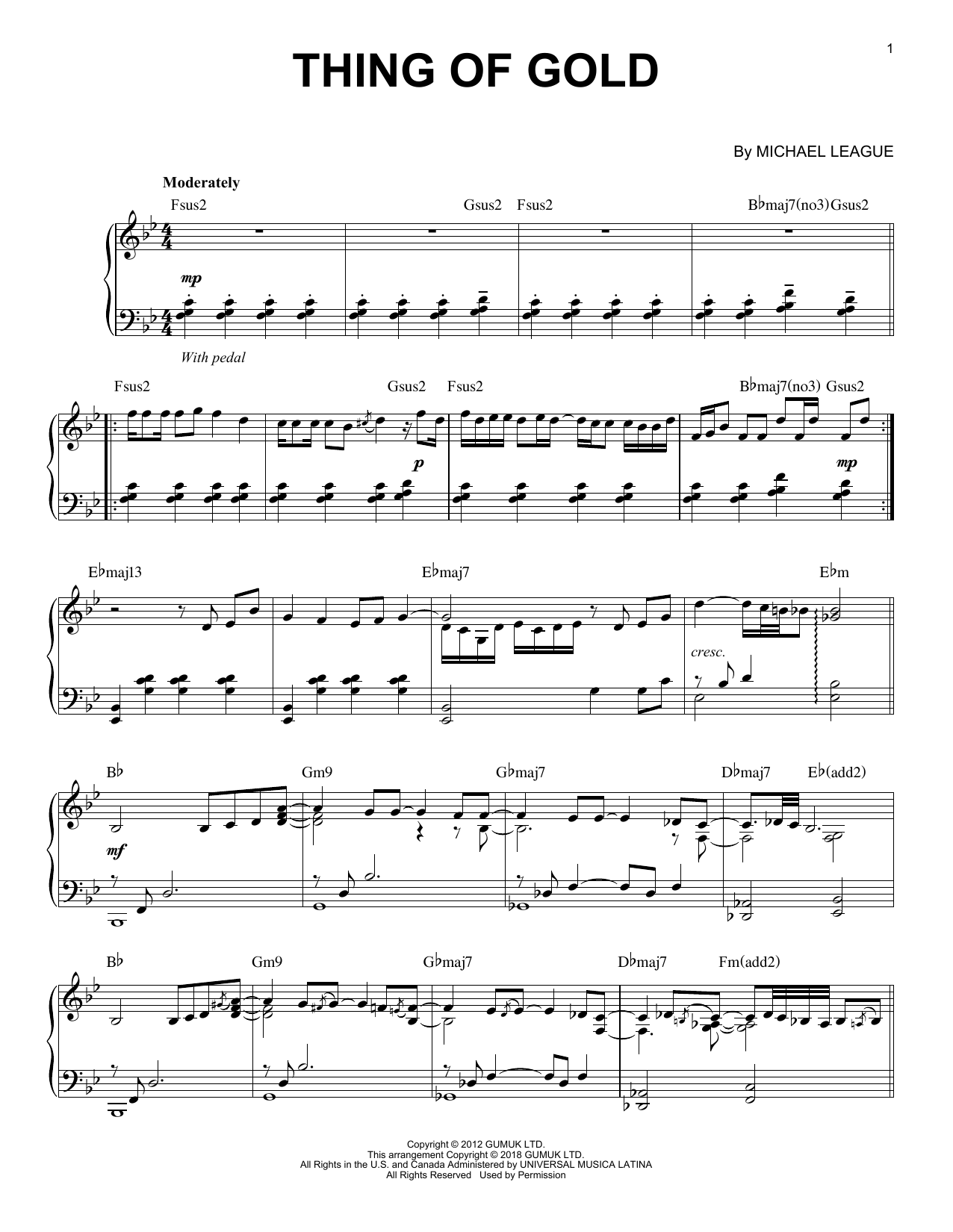 Thing Of Gold (Piano Solo)