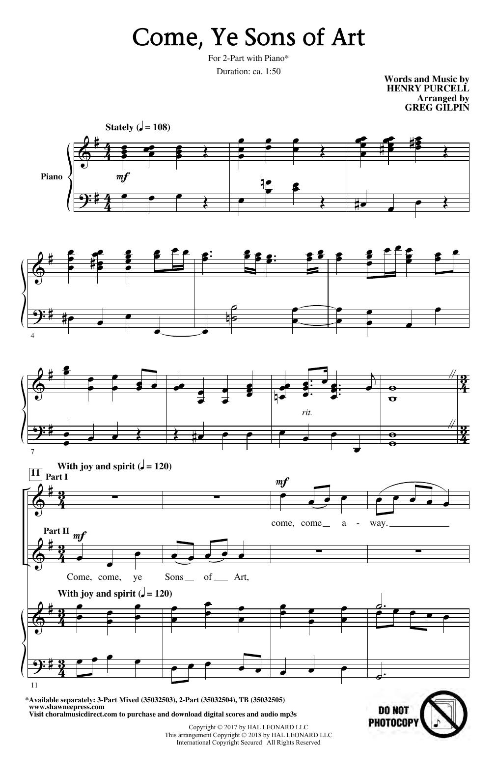 Come, Ye Sons Of Art (arr. Greg Gilpin) (2-Part Choir)