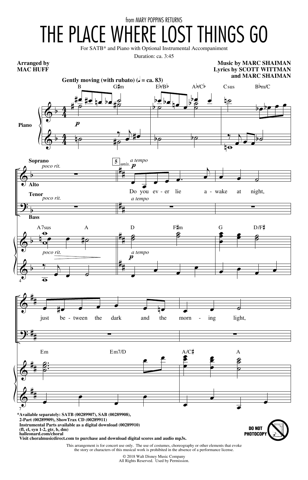 The Place Where Lost Things Go (from Mary Poppins Returns) (arr. Mac Huff) (SATB Choir)