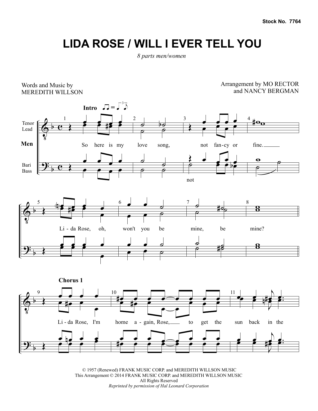 Lida Rose/Will I Ever Tell You (from The Music Man) (arr. Nancy Bergman, Mo Rector) Digitale Noten