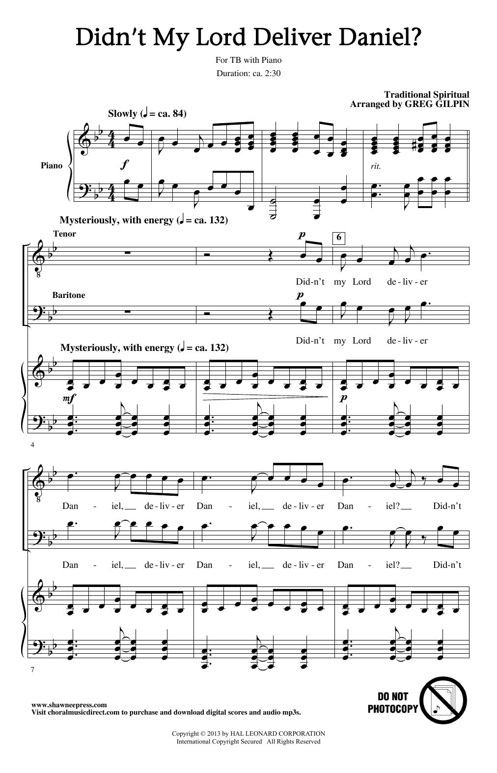 Didn't My Lord Deliver Daniel? (TB Choir)