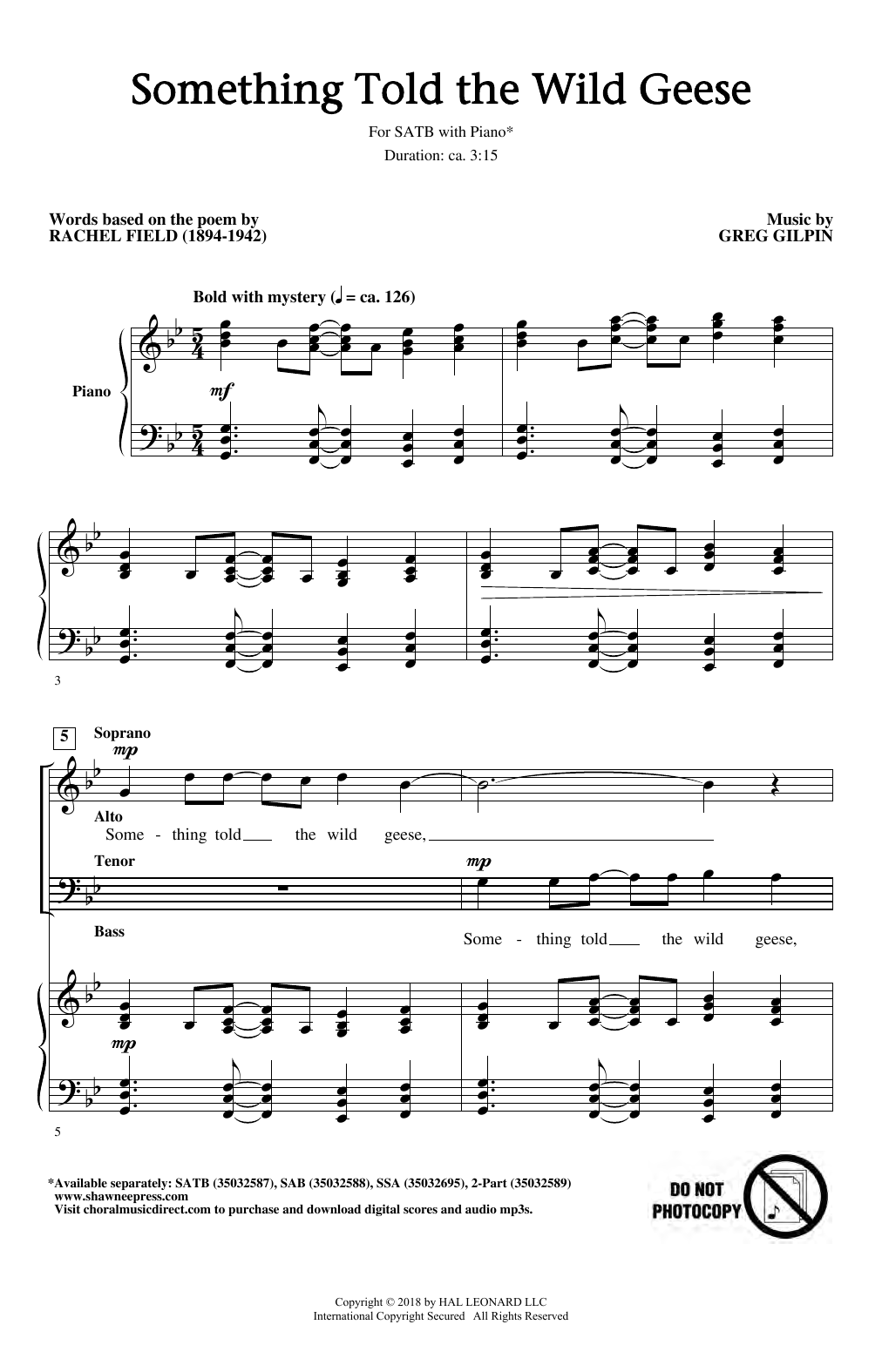 Something Told The Wild Geese (SATB Choir)
