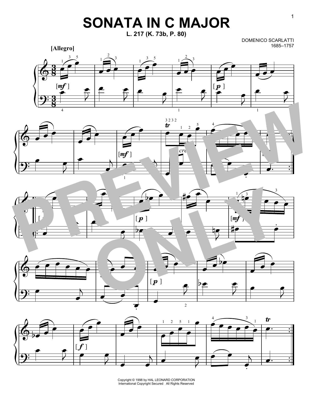 Sonata In C Major, L. 217 (Easy Piano)