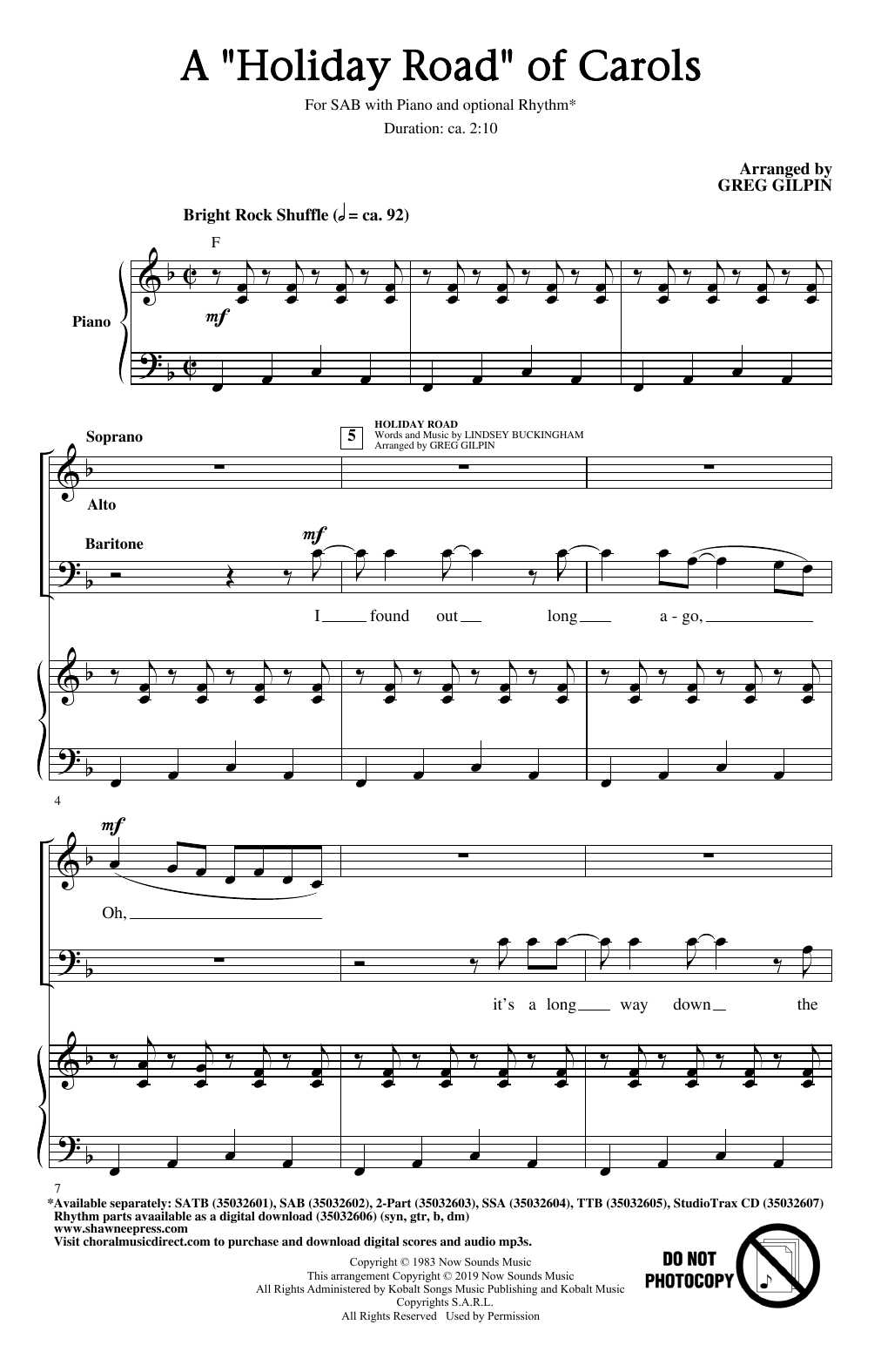 A Holiday Road Of Carols (arr. Greg Gilpin) (SAB Choir)