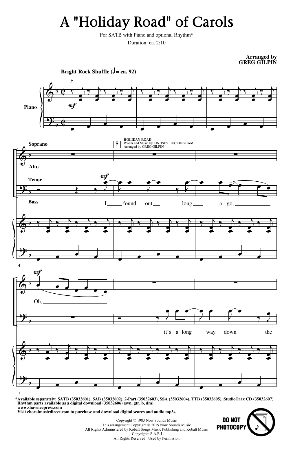 A Holiday Road Of Carols (arr. Greg Gilpin) (SATB Choir)