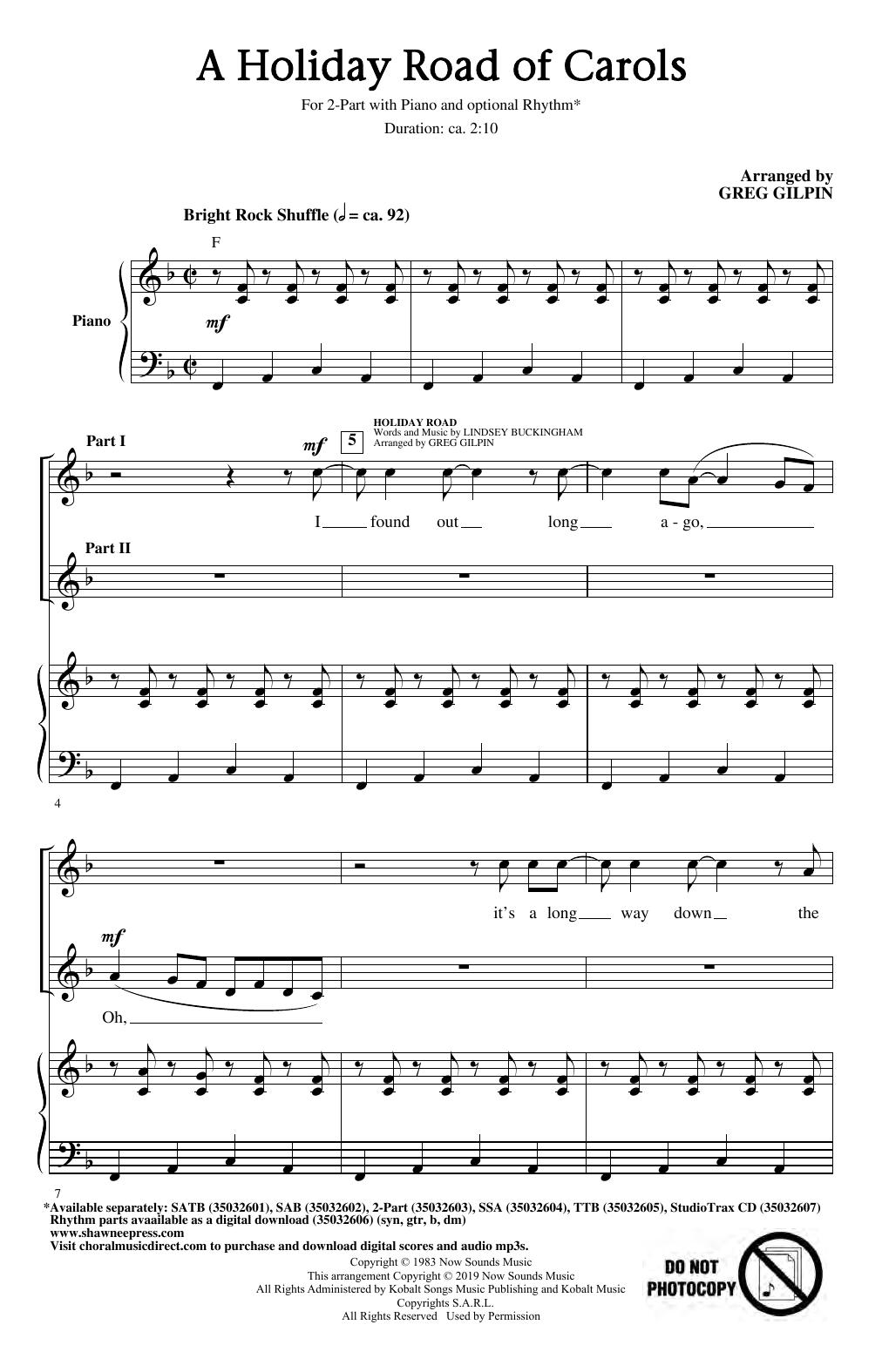 A Holiday Road Of Carols (arr. Greg Gilpin) (2-Part Choir)
