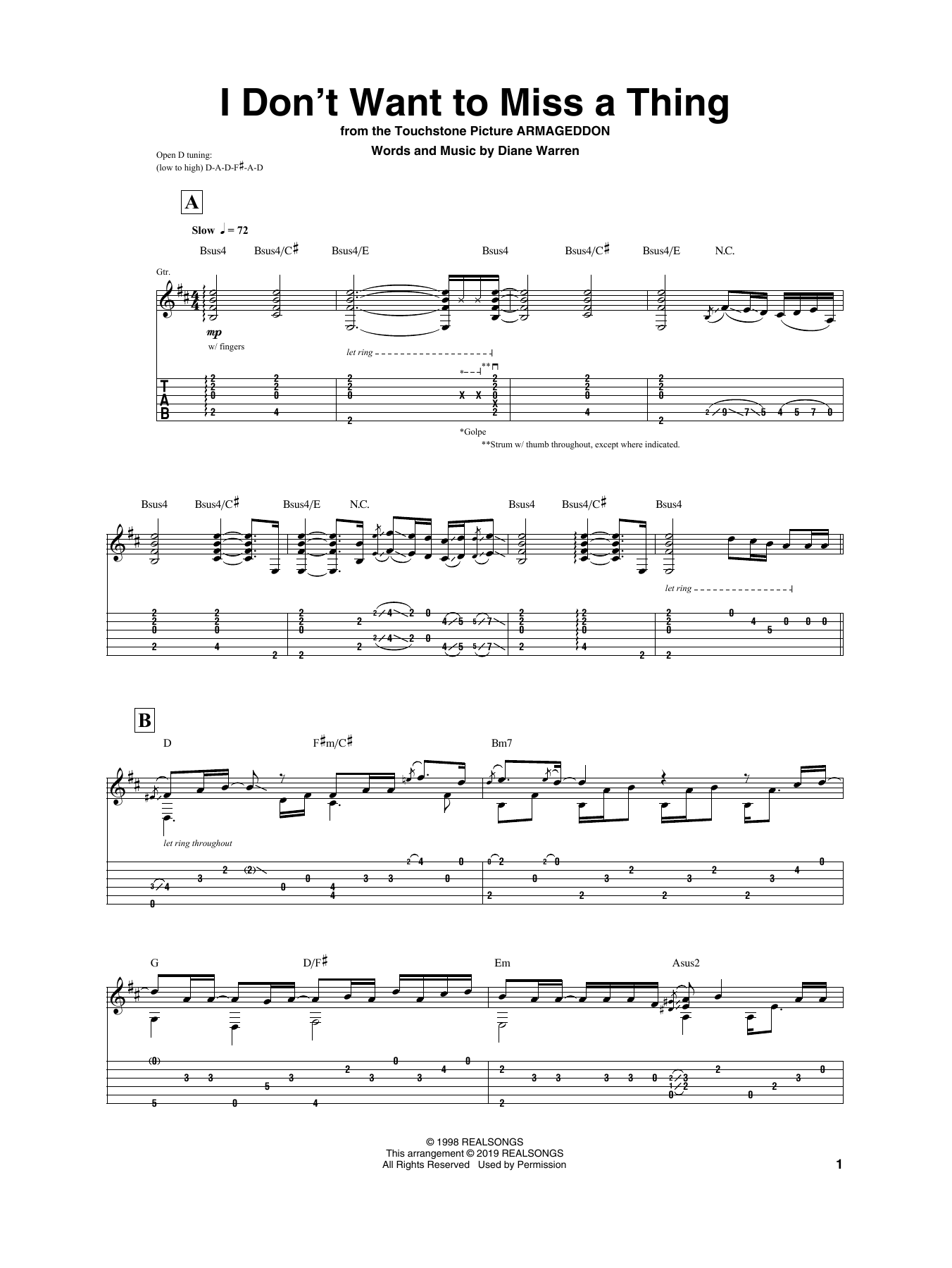 I Don't Want To Miss A Thing (Guitar Tab)