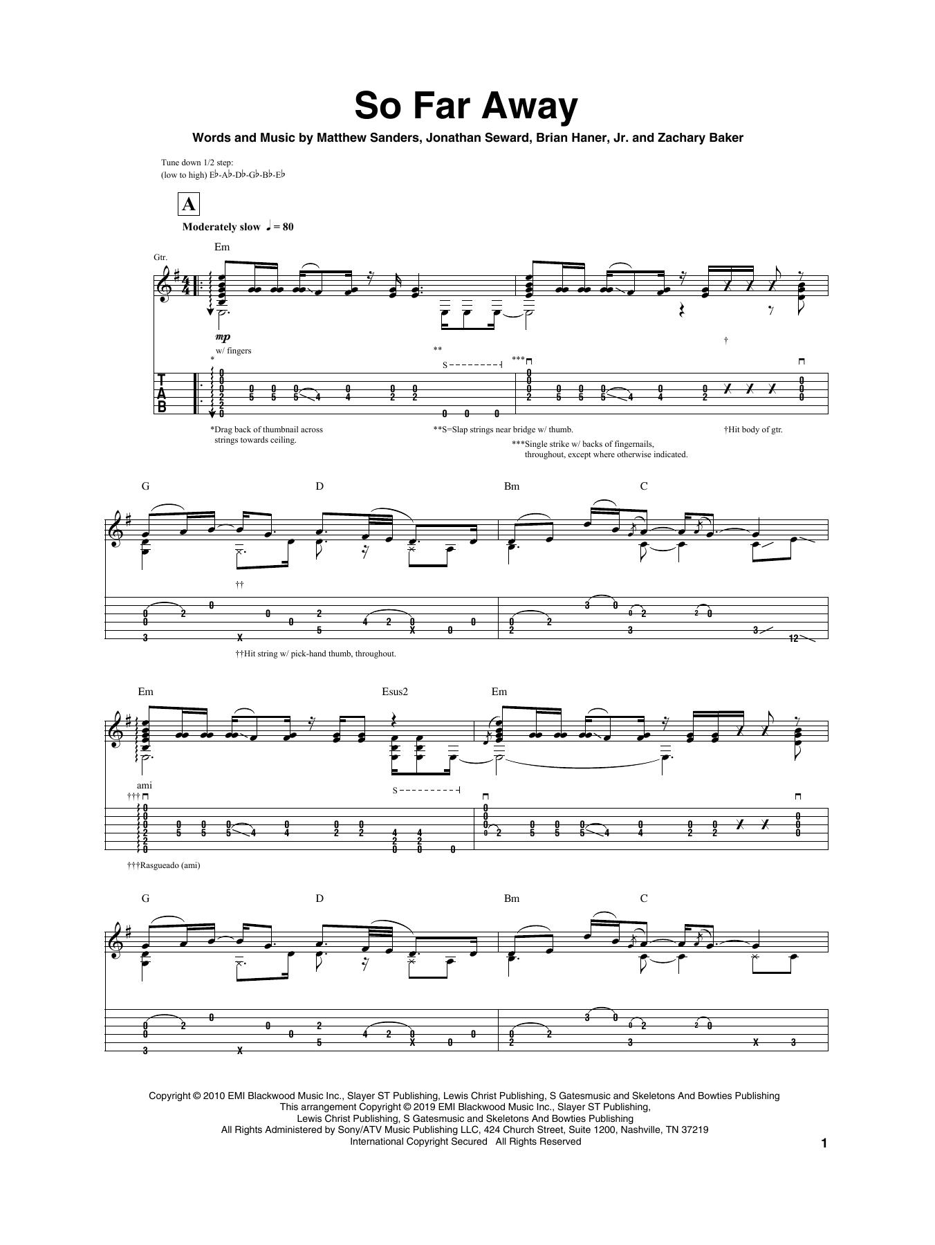 So Far Away (Guitar Tab)