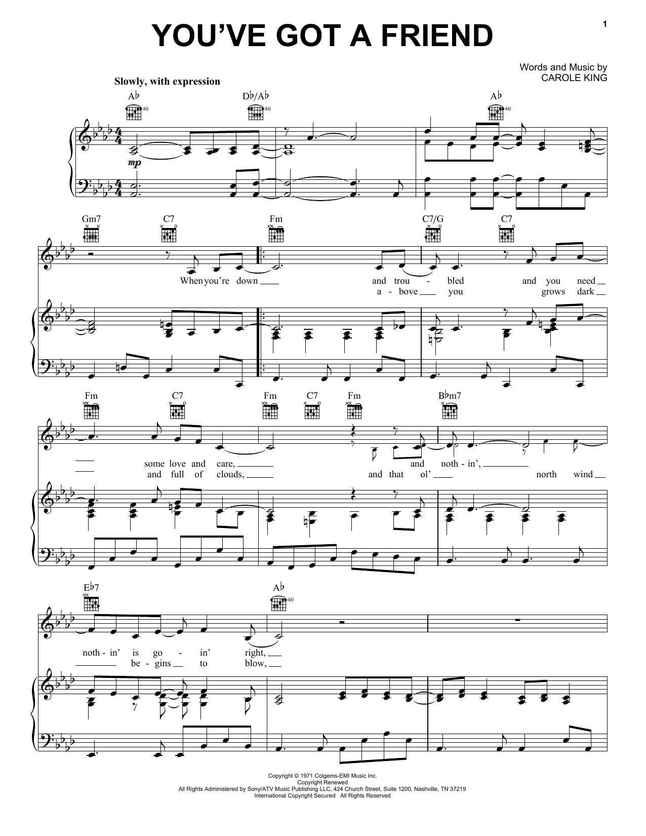 You've Got A Friend (Piano, Vocal & Guitar (Right-Hand Melody))