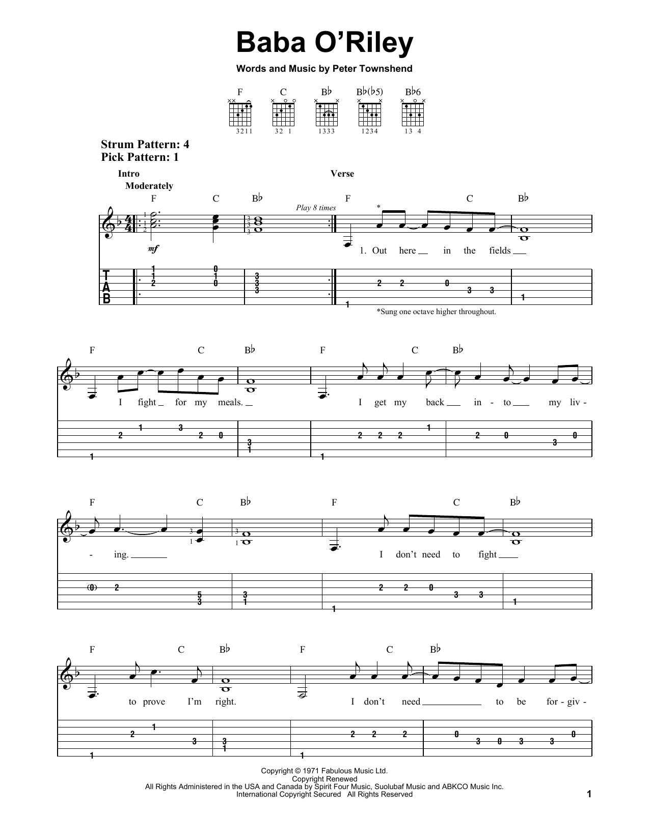 Baba O'Riley (Easy Guitar Tab)