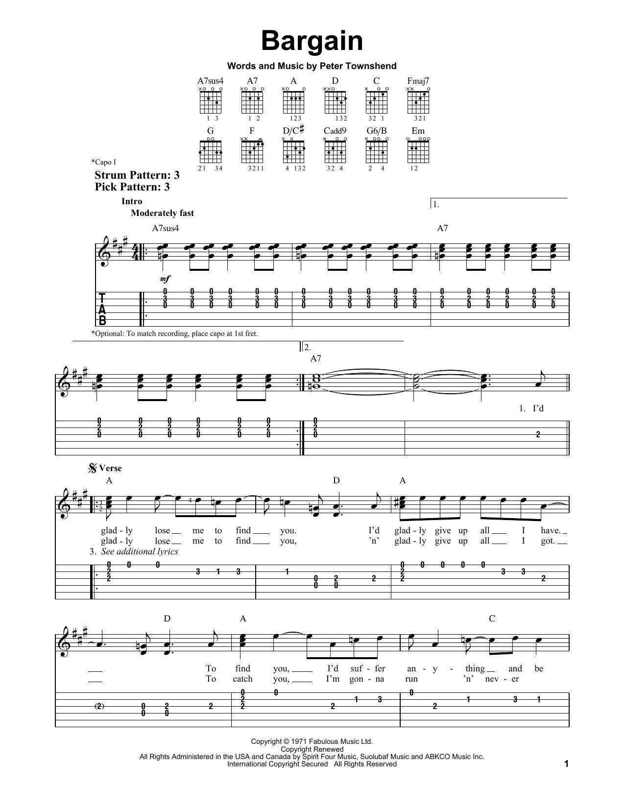 Bargain (Easy Guitar Tab)