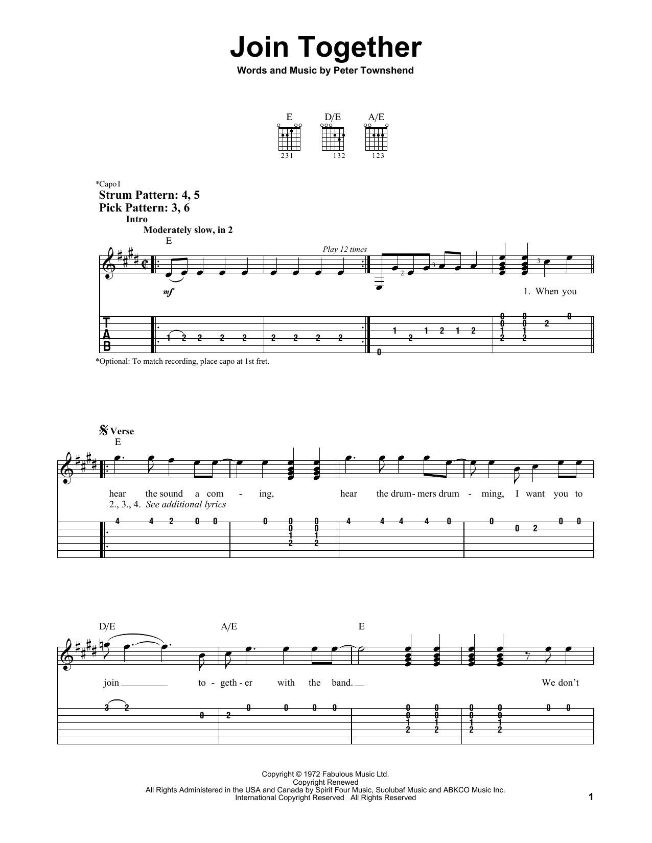 Join Together (Easy Guitar Tab)