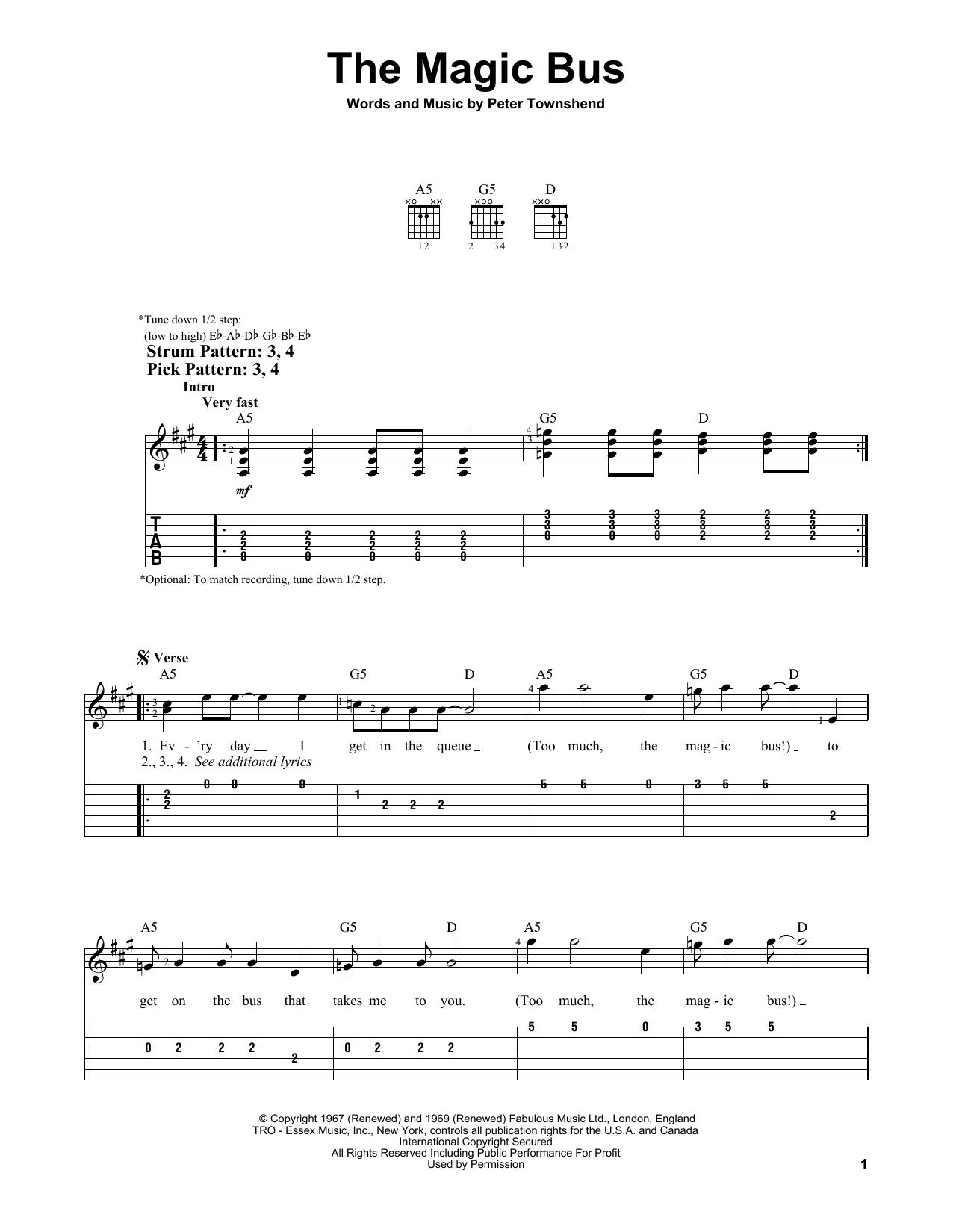 The Magic Bus (Easy Guitar Tab)