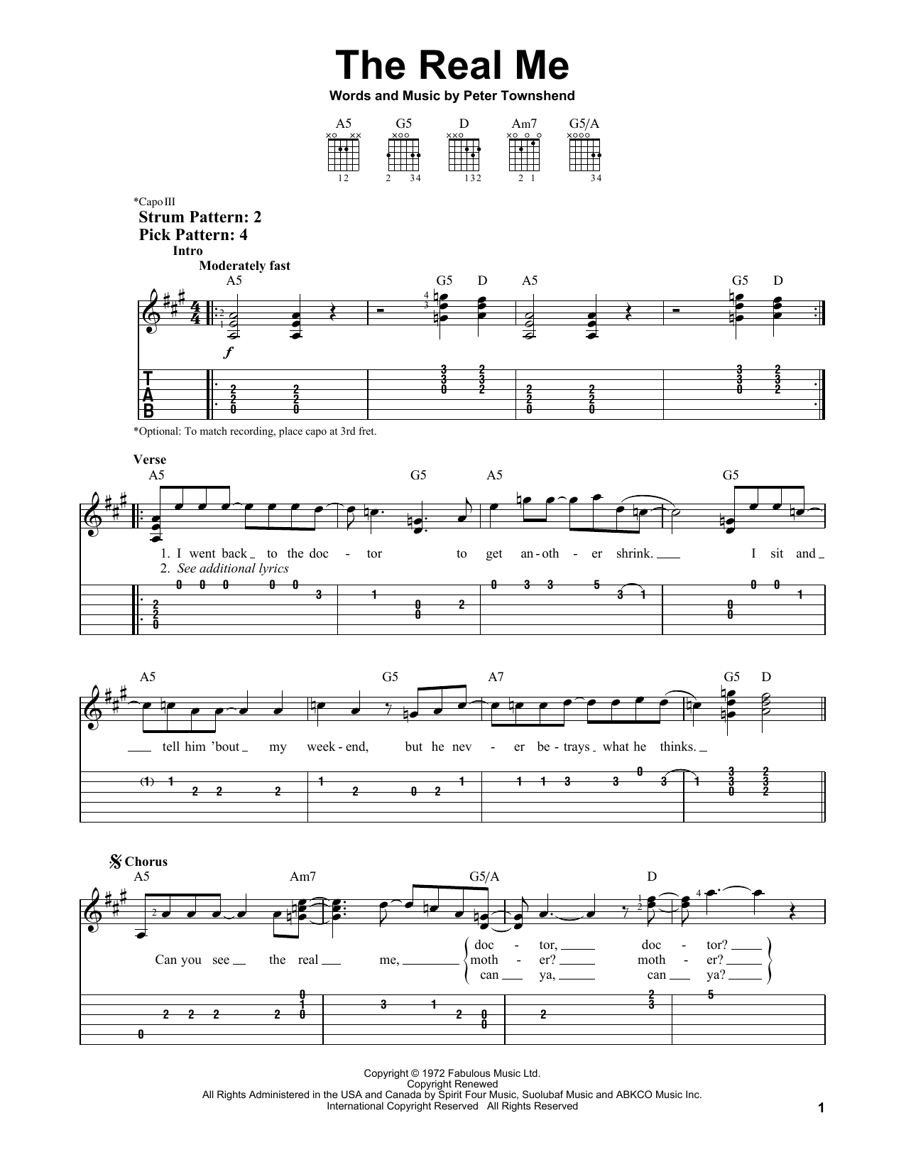 The Real Me (Easy Guitar Tab)