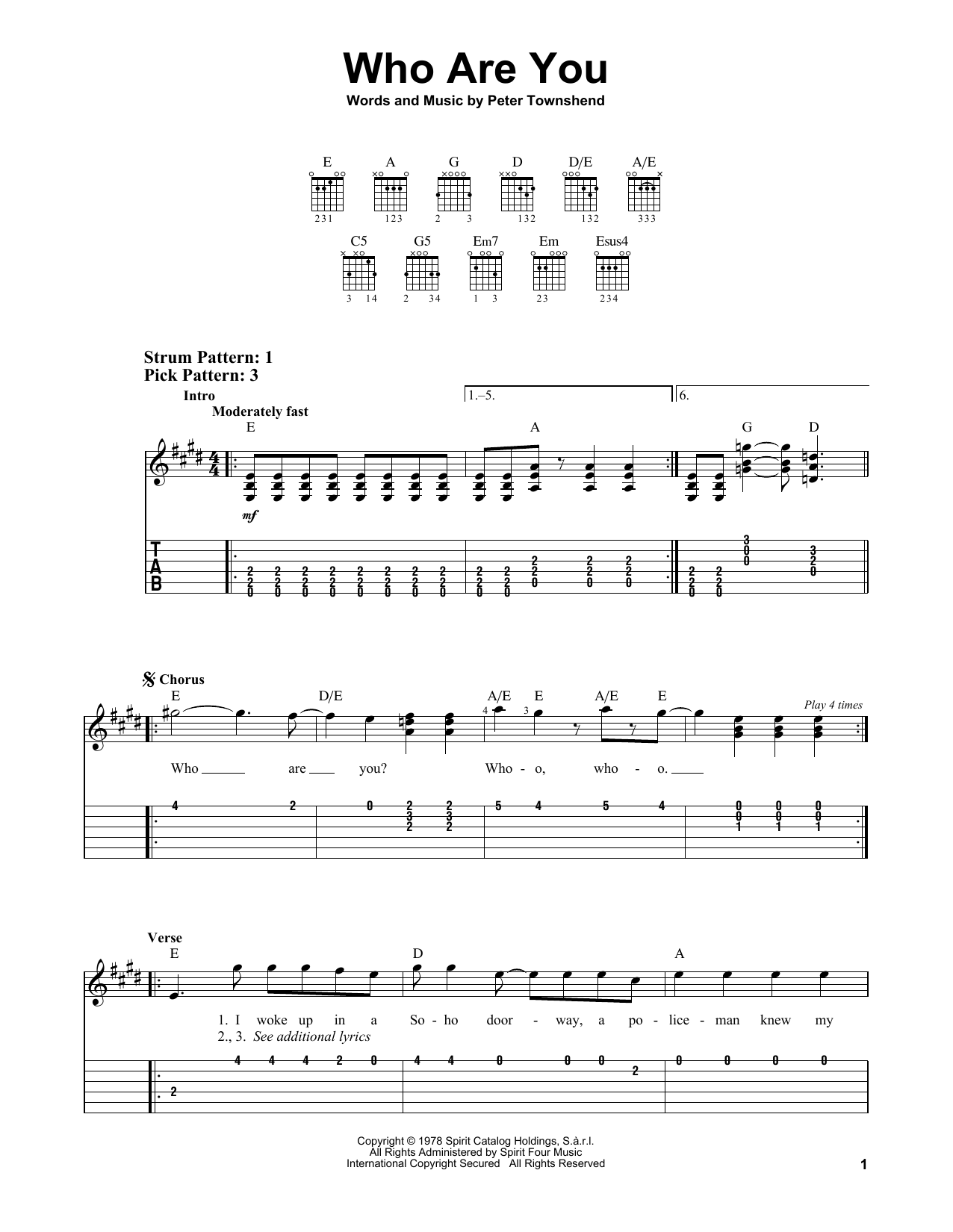 Who Are You (Easy Guitar Tab)