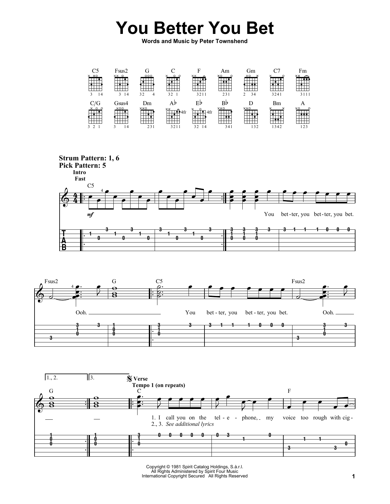 You Better You Bet (Easy Guitar Tab)