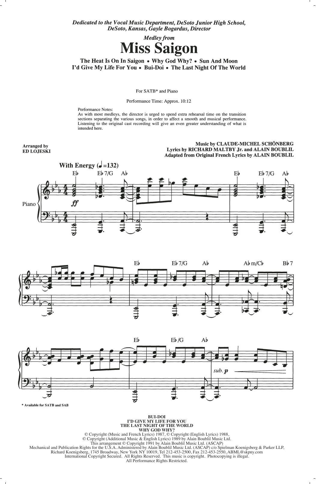 Miss Saigon (Medley) (arr. Ed Lojeski) (SATB Choir)