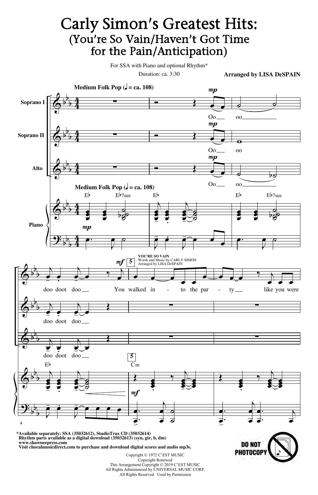 Carley Simon's Greatest Hits (Medley) (arr. Lisa DeSpain) (SSA Choir)