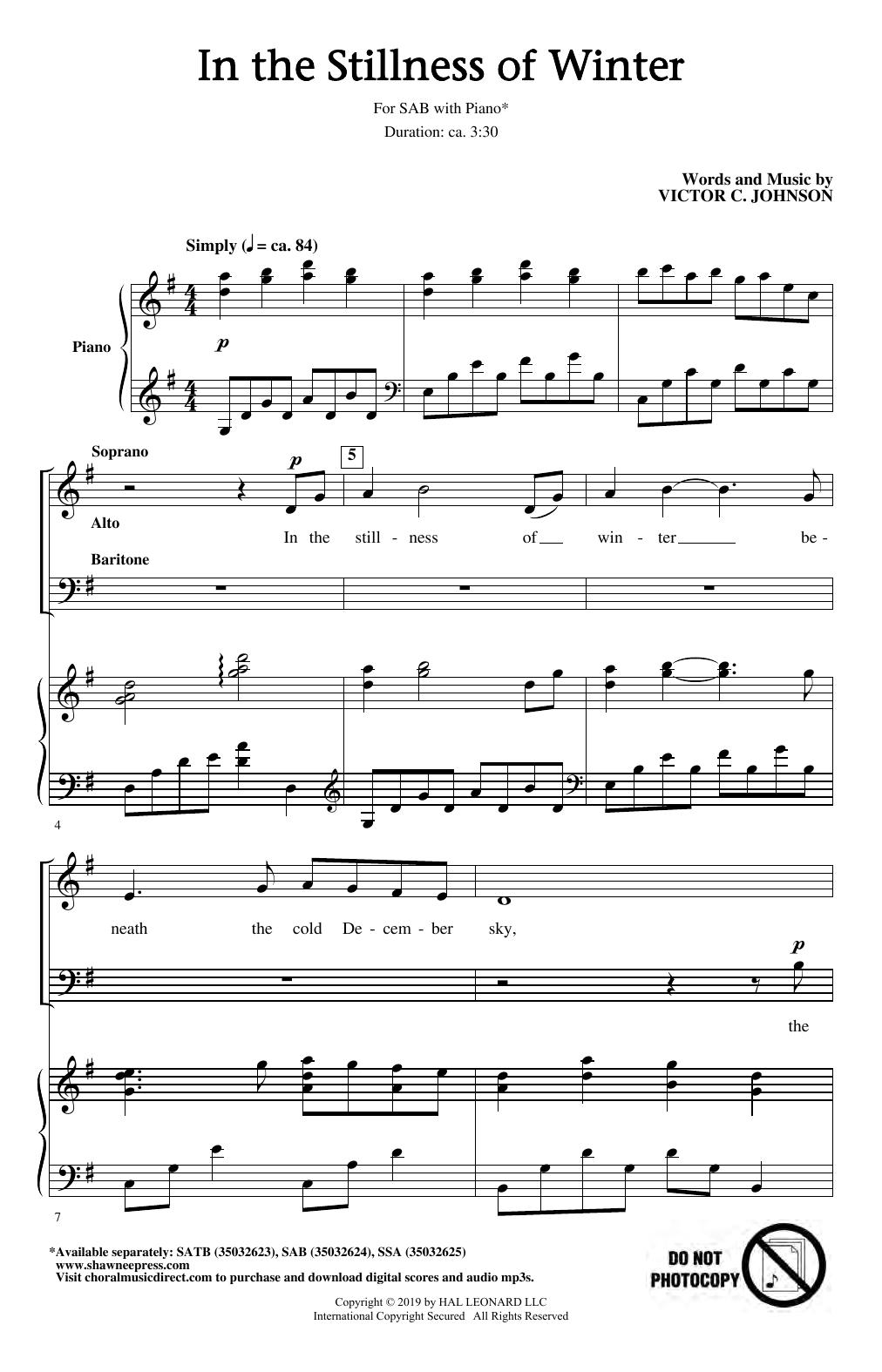 In The Stillness Of Winter (SAB Choir)