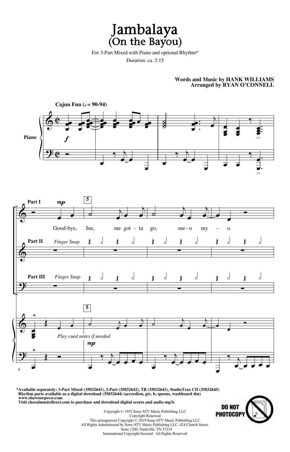 Jambalaya (On The Bayou) (arr. Ryan O'Connell) Sheet Music